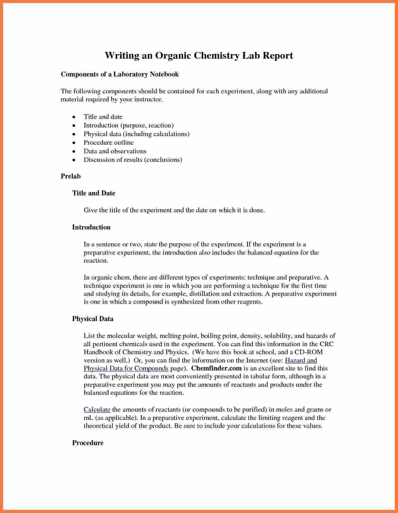003 Organic Chemistry Lab Report Example Also Ibmistry Pertaining To Lab Report Template Word