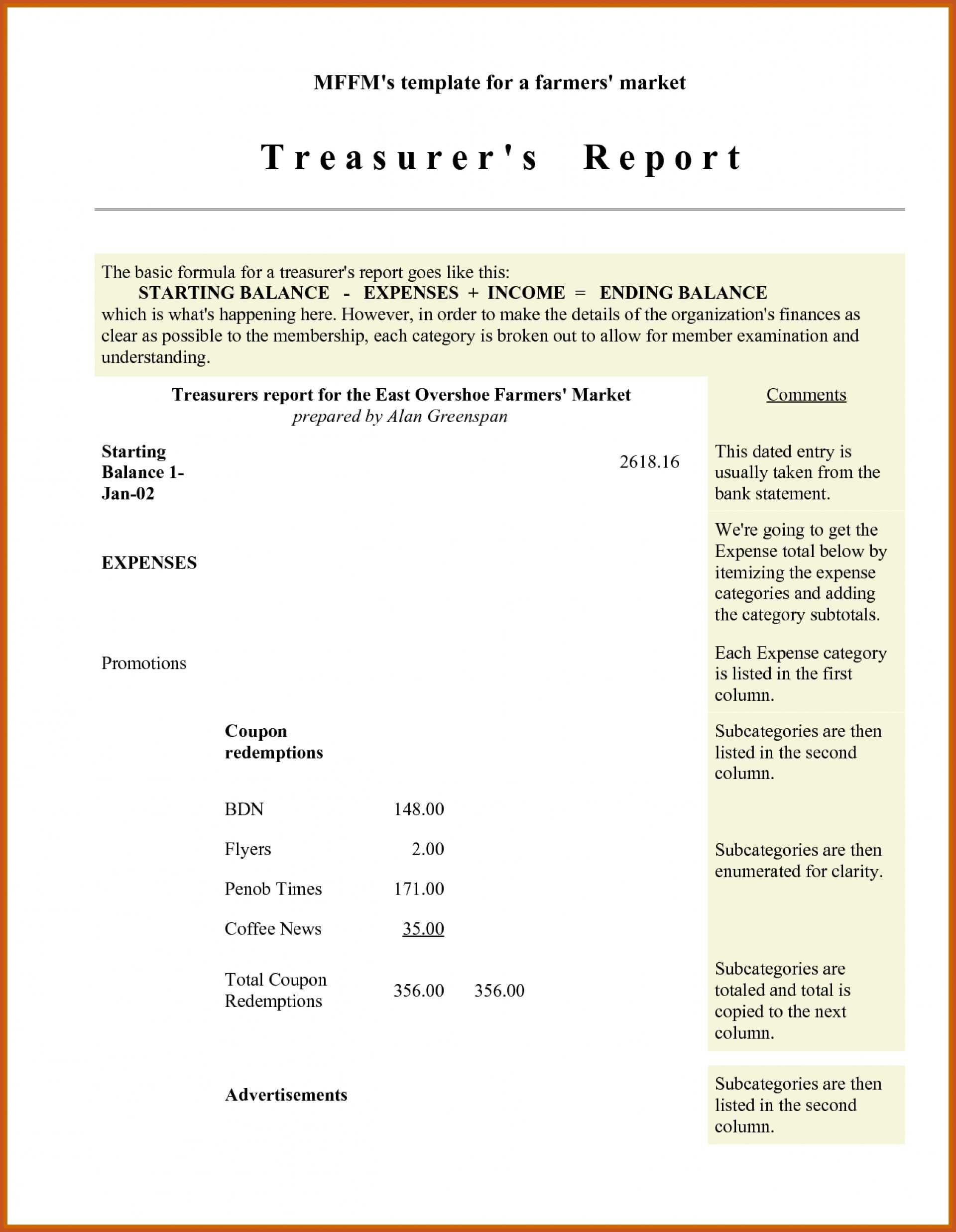 003 Treasurer Report Template Non Profit Sample Treasurers Within Treasurer Report Template Non Profit