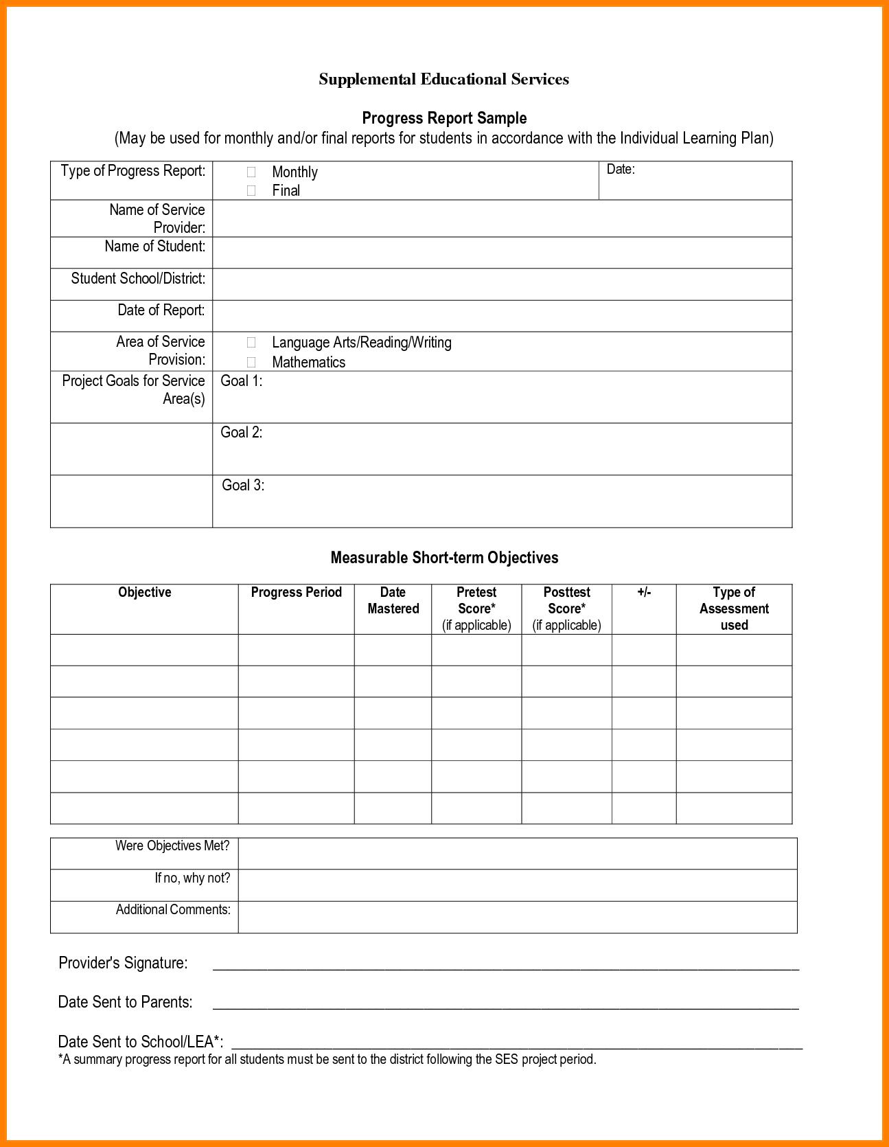 005 Template Ideas Student Progress Report Format Pdf Throughout School Progress Report Template