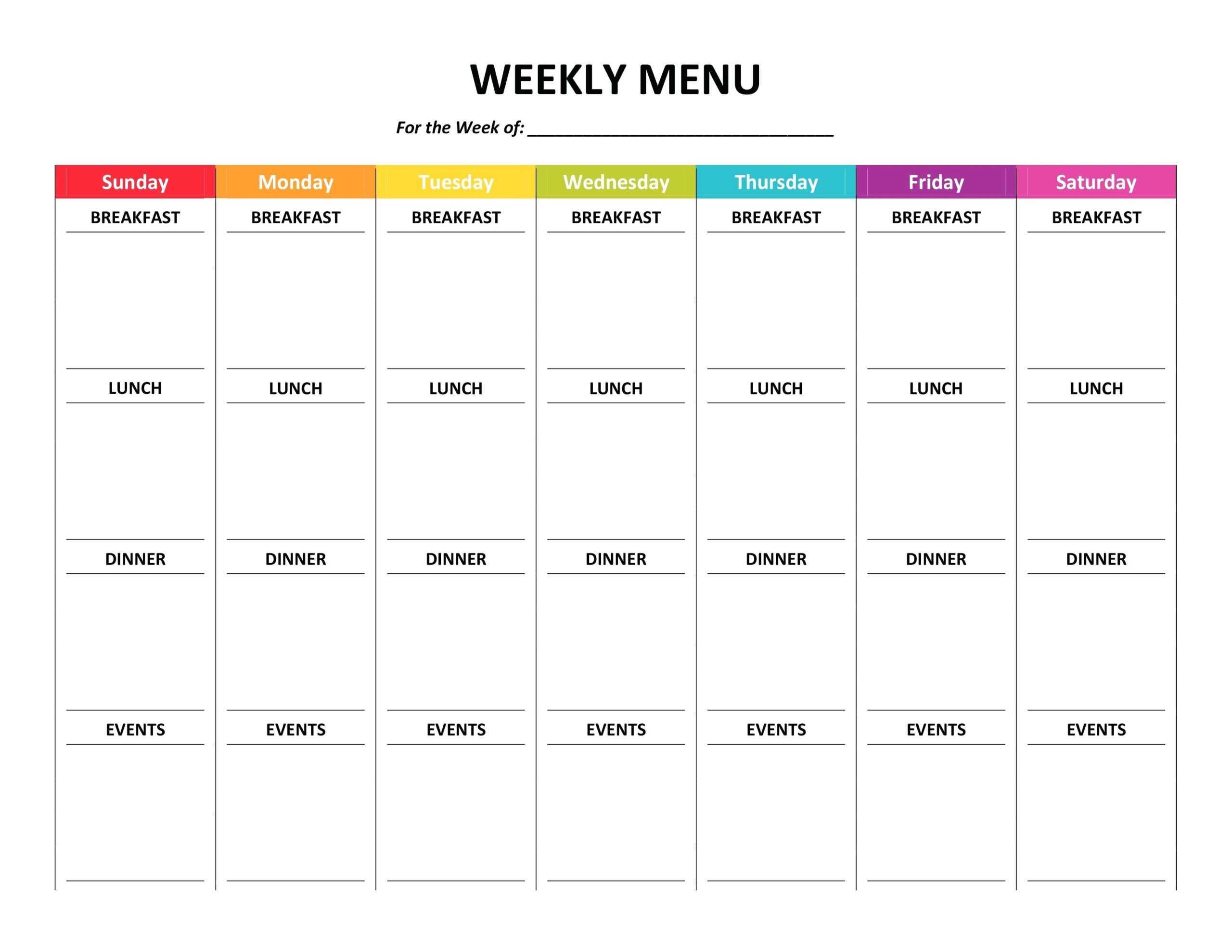 006 Free Meal Plan Template Word Ideas Best ~ Thealmanac In Menu Planning Template Word