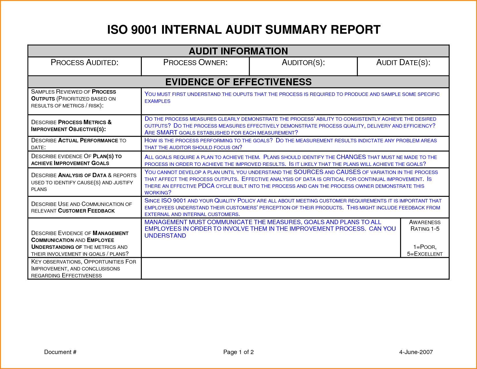 012 Template Ideas Internal Audit Report Sample Unbelievable Intended For Iso 9001 Internal Audit Report Template