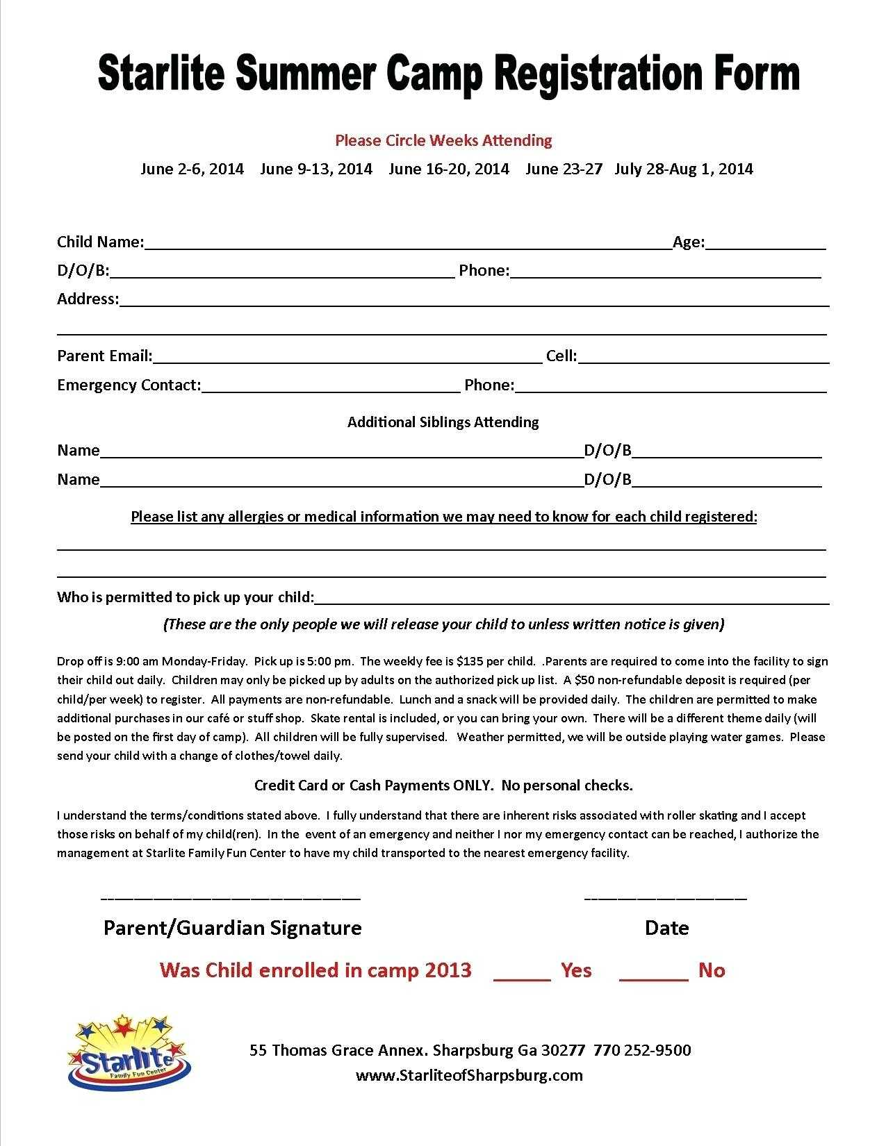 014 Free Printable Camp Registration Form Templates Hotel With Regard To Camp Registration Form Template Word