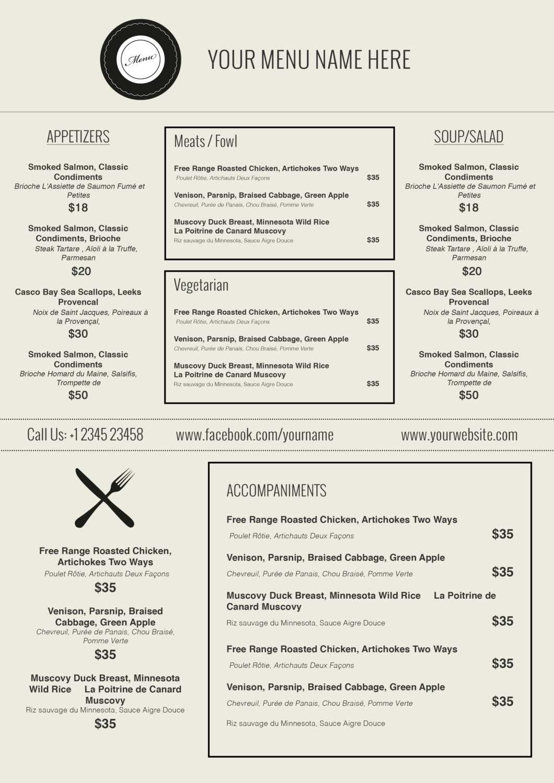 015 Menu Templates Free Download Word Friench Food Template For Free Cafe Menu Templates For Word
