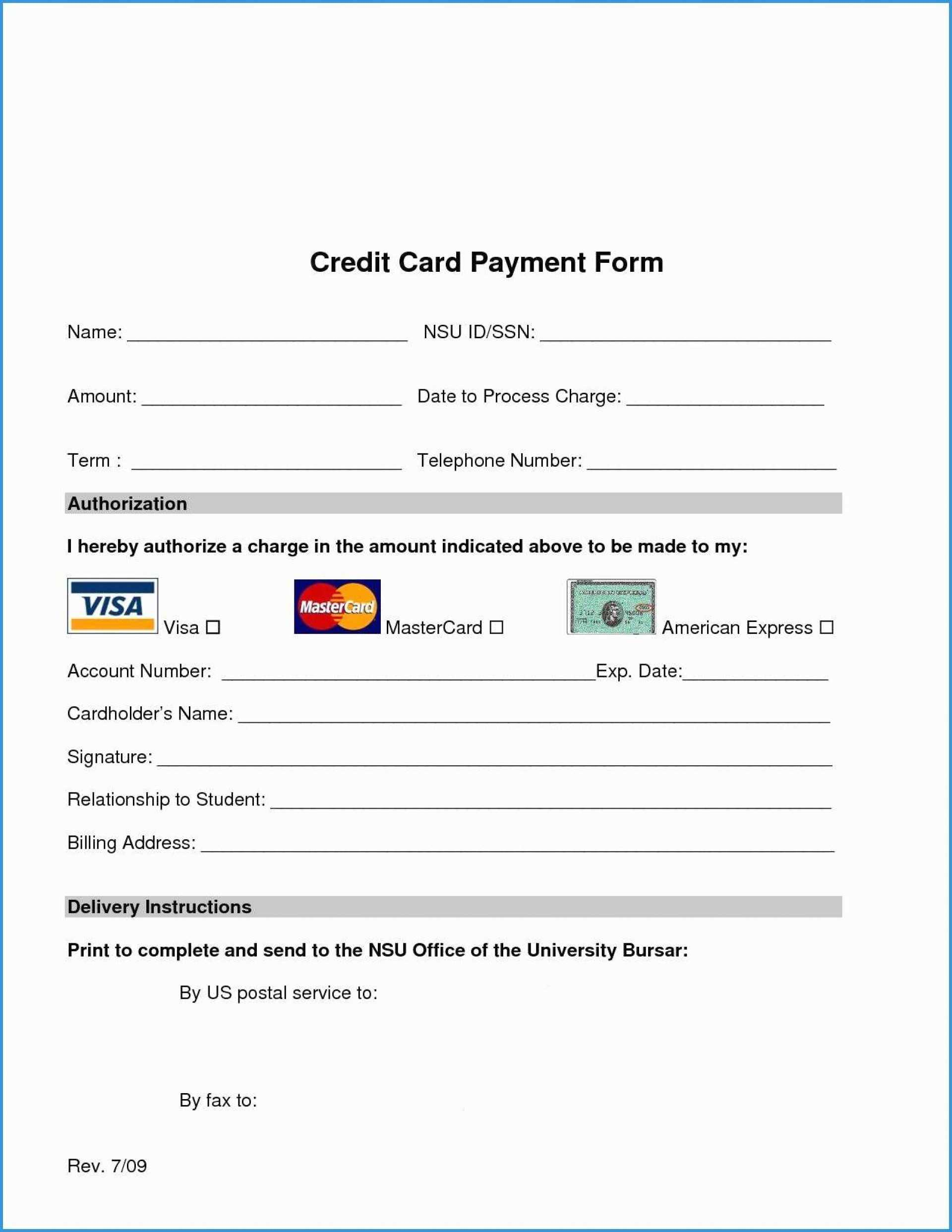017 Template Ideas Credit Card Authorization Pdf Free Form Inside Credit Card Authorization Form Template Word