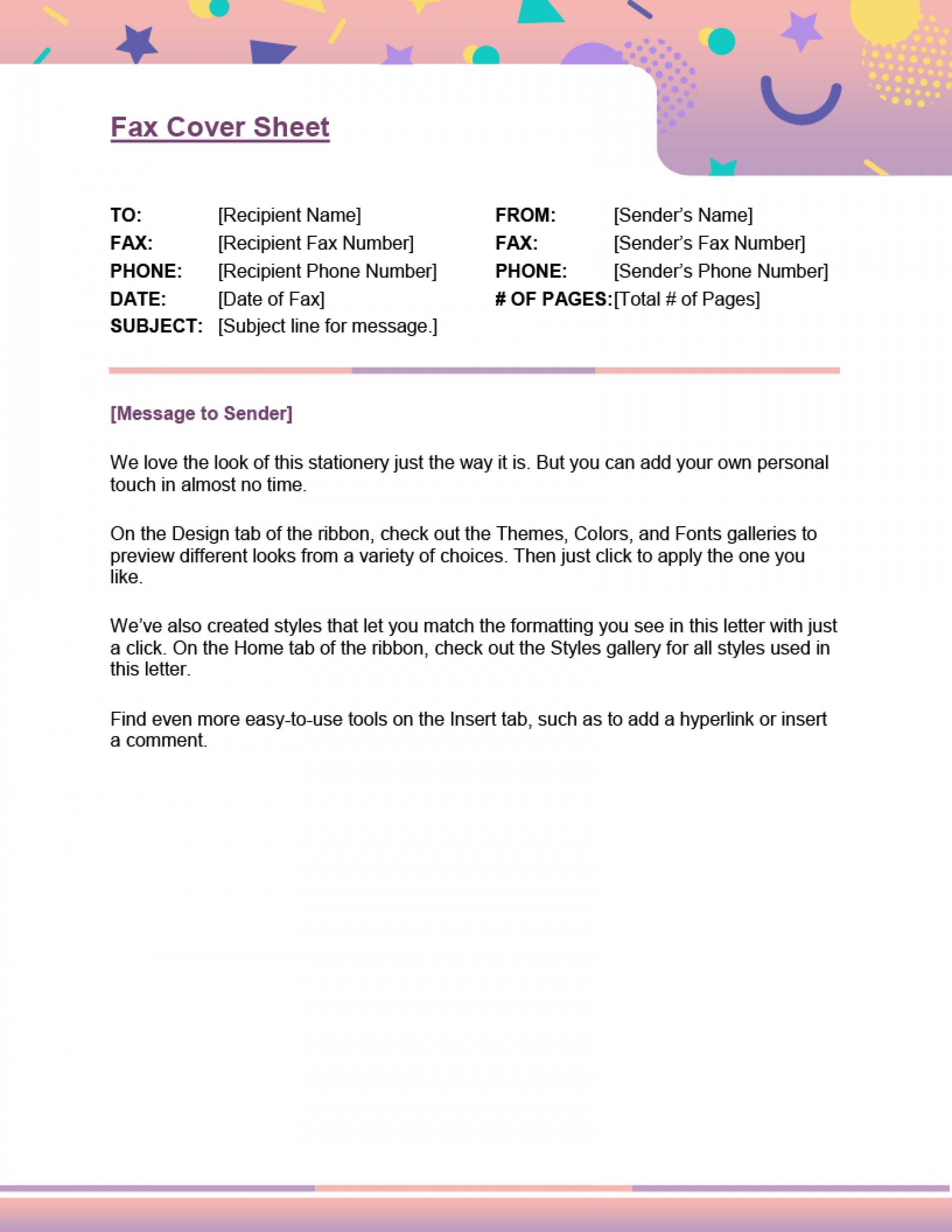 024 Fax Cover Sheet Template Ord Printable Document Ver With Regard To Personal Check Template Word 2003