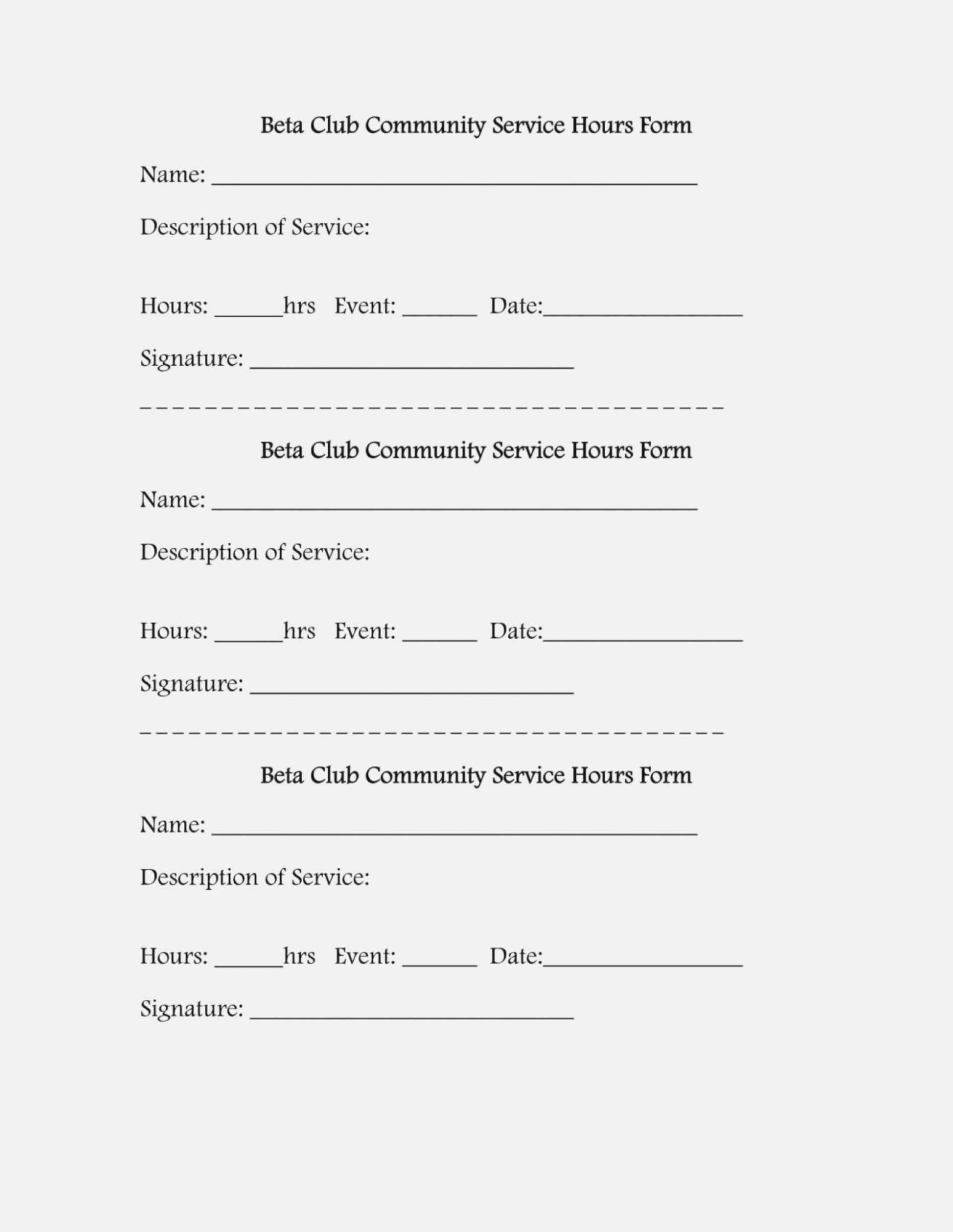 024 Volunteer Hours Form Template Application Unbelievable Regarding Community Service Template Word