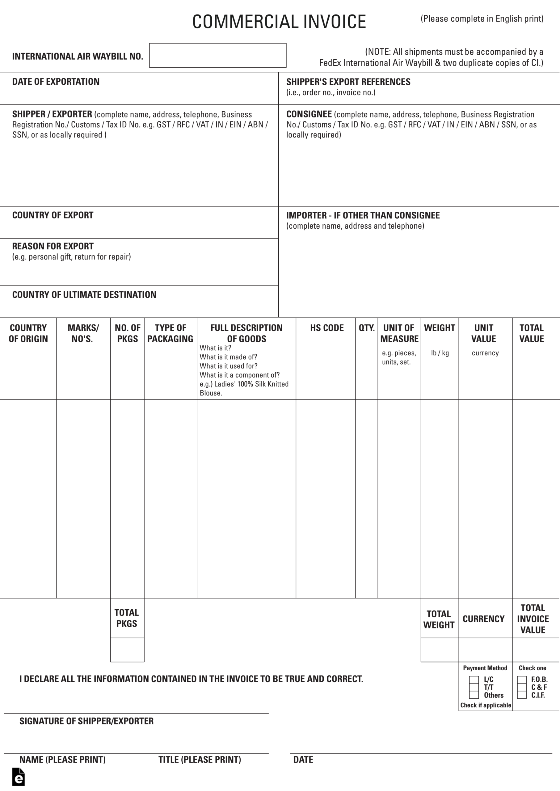 027 Ups Commercial Invoice Form Pdf Example Forms Canada With Regard To Commercial Invoice Template Word Doc