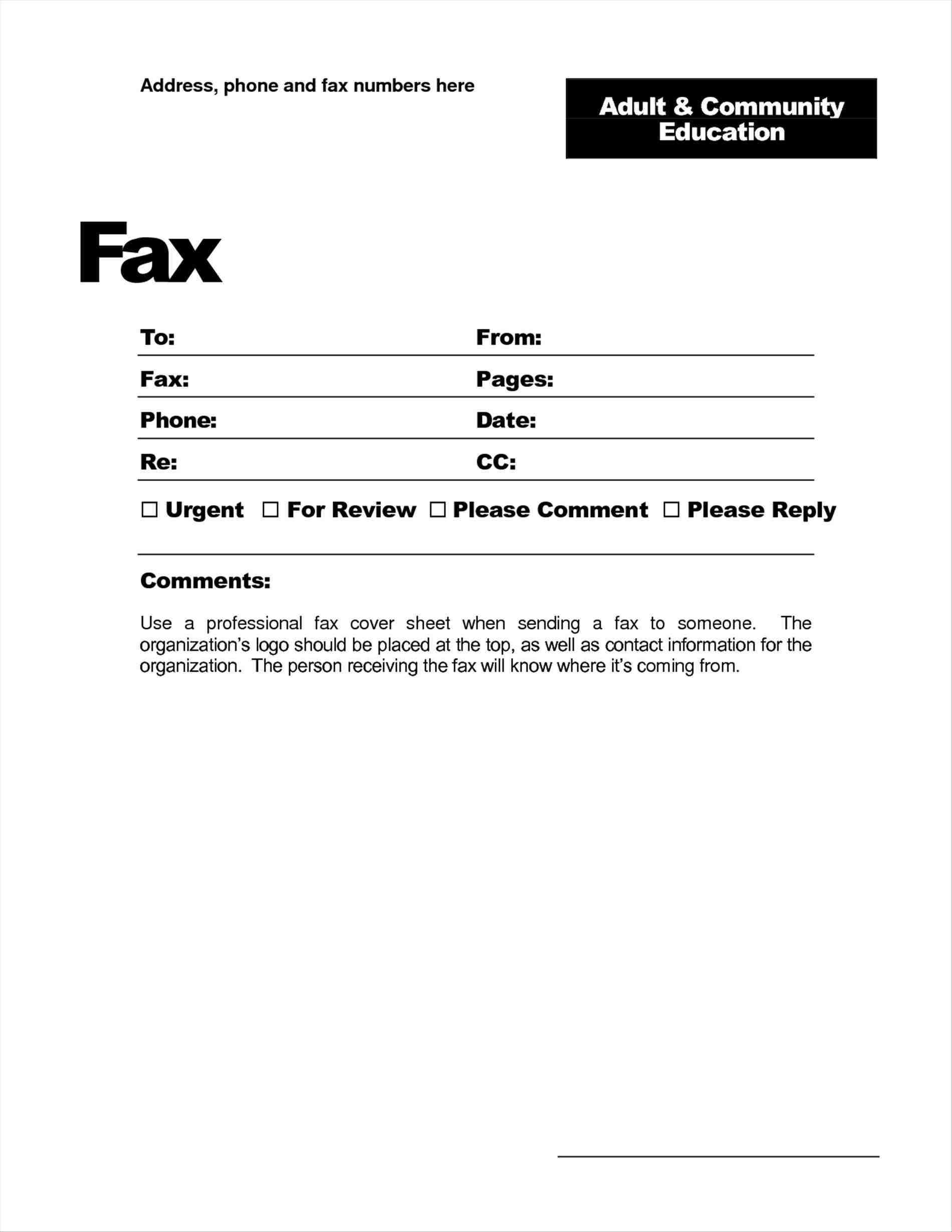 028 Basic Fax Cover Sheet Template Free Printable Example Pertaining To Fax Cover Sheet Template Word 2010
