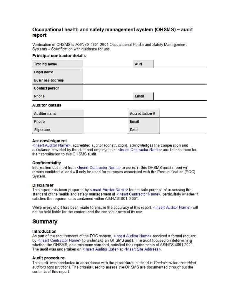 029 Internal Audit Report Template Stupendous Ideas Format For Internal Audit Report Template Iso 9001