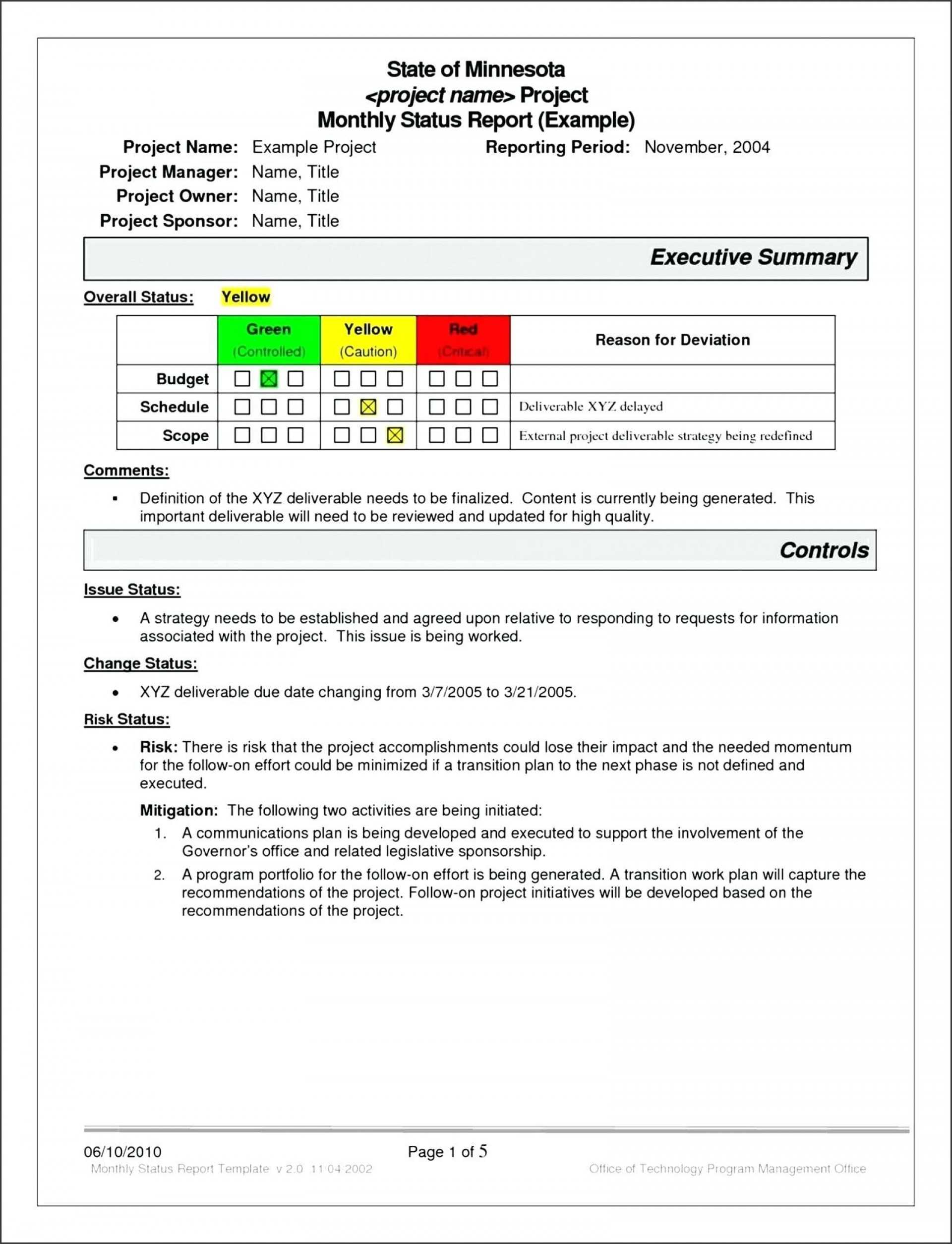 033 Project Management Report Template Excel Atus Free S Regarding It Management Report Template