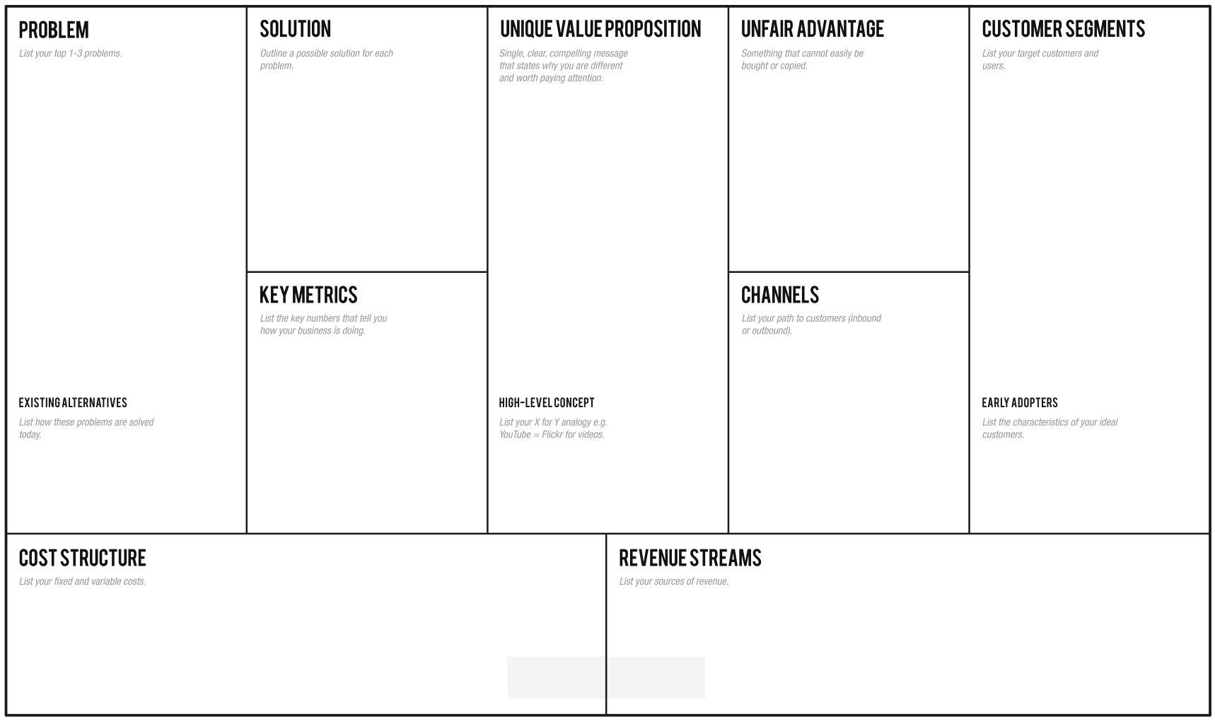 1 Page Business Plan   Leanstack With Lean Canvas Word Template