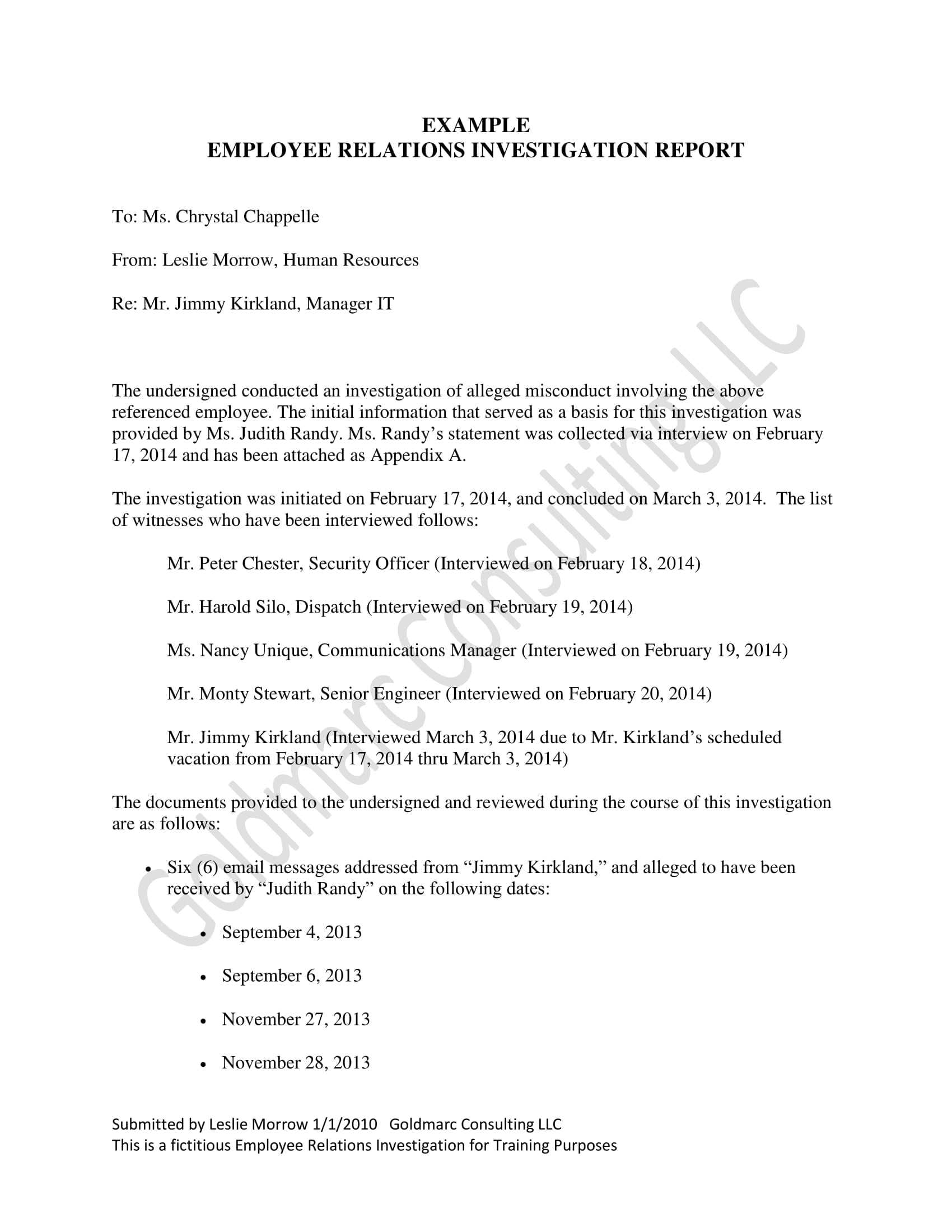10+ Workplace Investigation Report Examples – Pdf   Examples In Hr Investigation Report Template