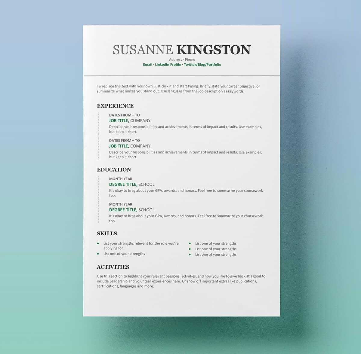 11 Free Professional Resume Templates Microsoft Word Format Pertaining To Free Resume Template Microsoft Word