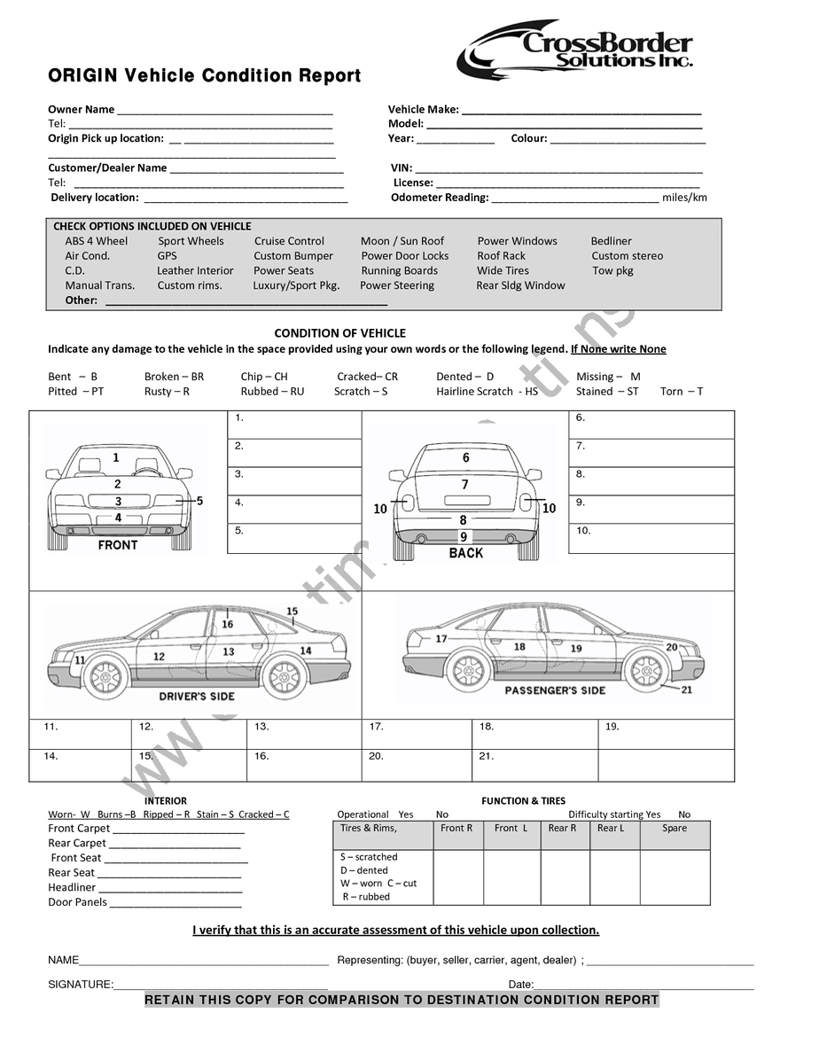 12+ Vehicle Condition Report Templates - Word Excel Samples Pertaining To Truck Condition Report Template