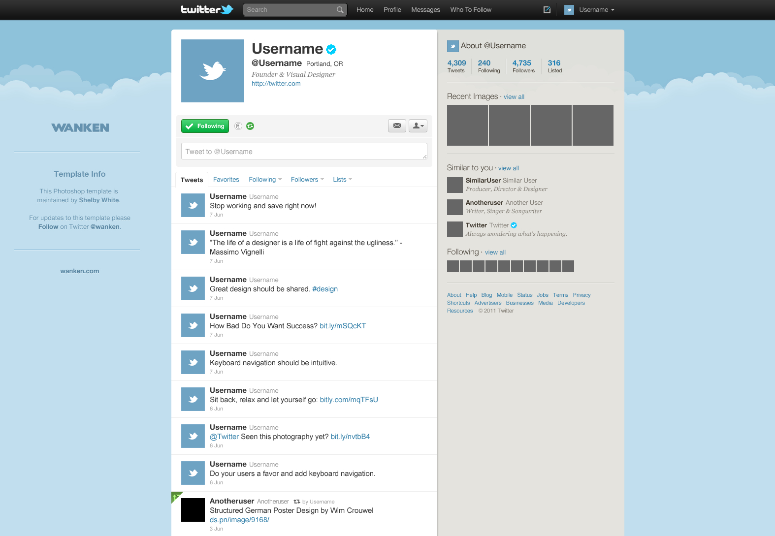 15 Twitter Psd Template Images - Twitter Templates Free Inside Blank Twitter Profile Template