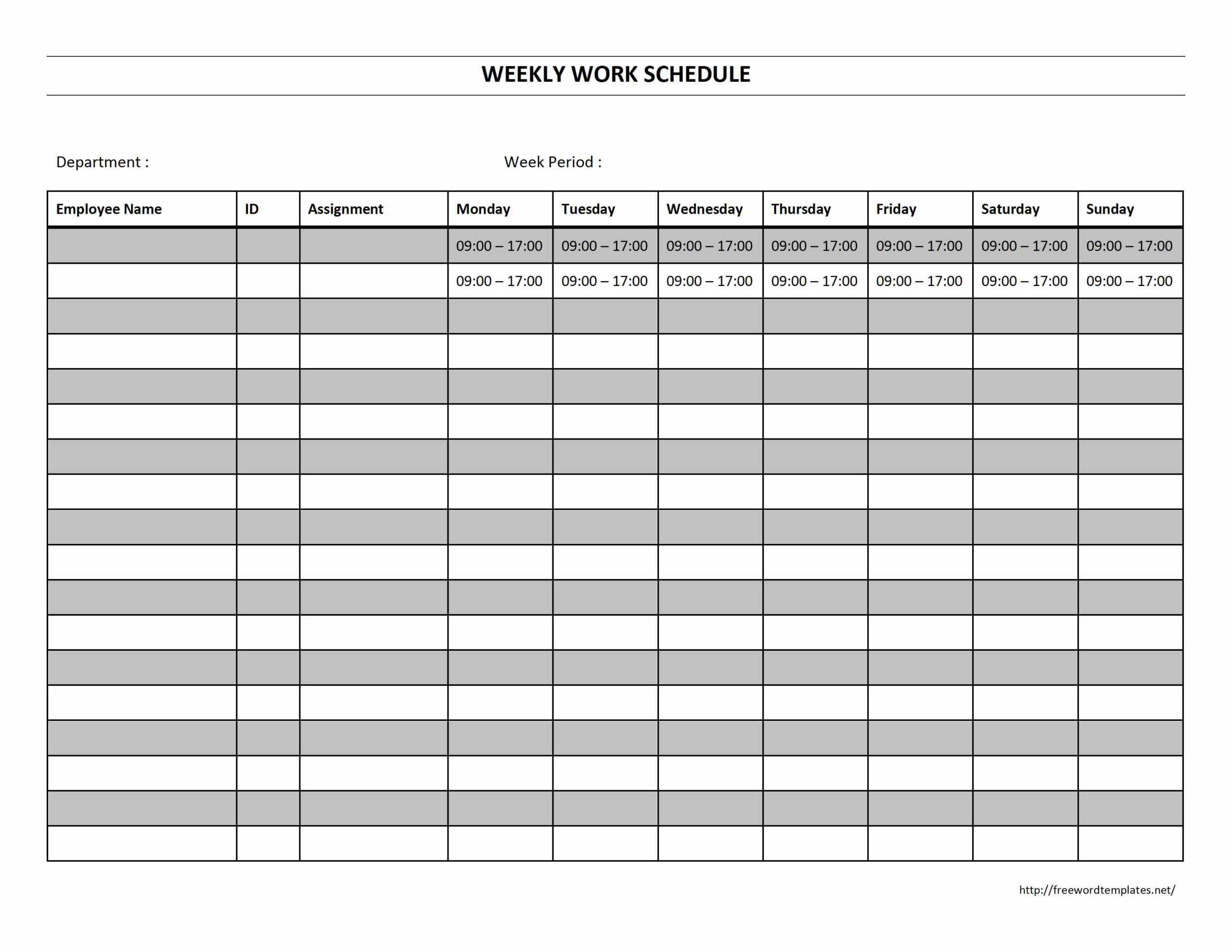 18 Blank Weekly Employee Schedule Template Images – Blank Inside Blank Monthly Work Schedule Template
