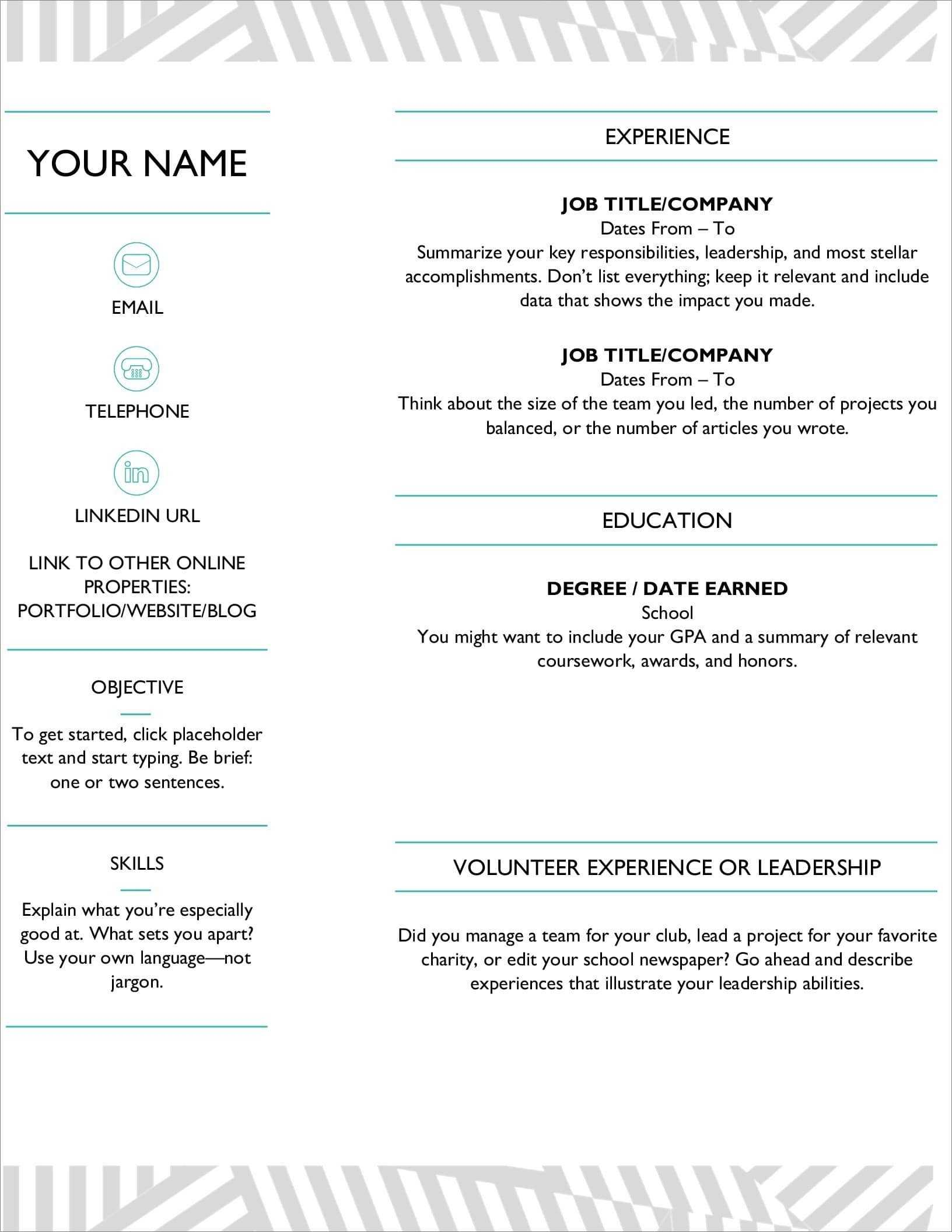 25 Resume Templates For Microsoft Word [Free Download] Intended For How To Find A Resume Template On Word