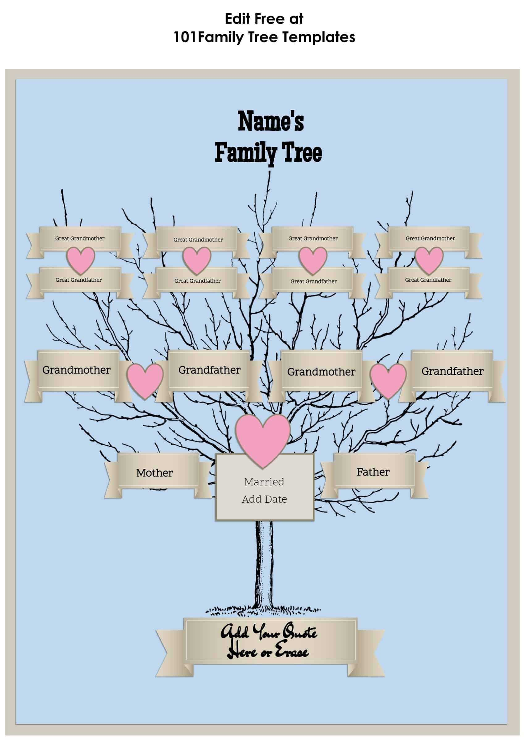 3 Generation Family Tree Generator   All Templates Are Free Throughout Blank Family Tree Template 3 Generations