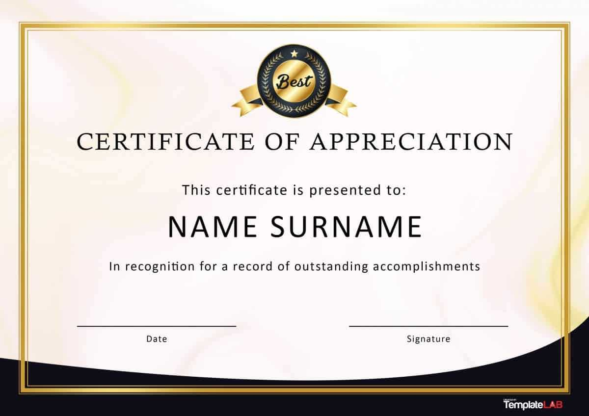 30 Free Certificate Of Appreciation Templates And Letters With Regard To Professional Certificate Templates For Word