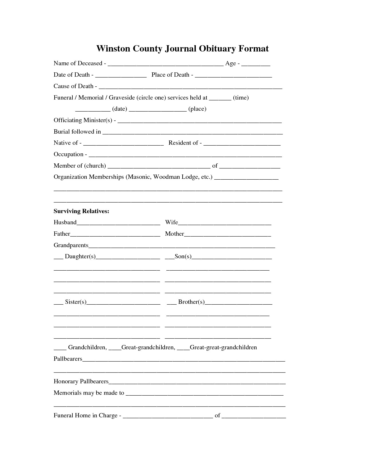 30 Obituary Template For Free | Andaluzseattle Template Example In Free Obituary Template For Microsoft Word
