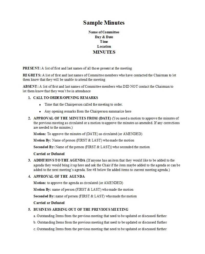 33 Professional Corporate Minutes Templates (Word/pdf) ᐅ Regarding Corporate Minutes Template Word