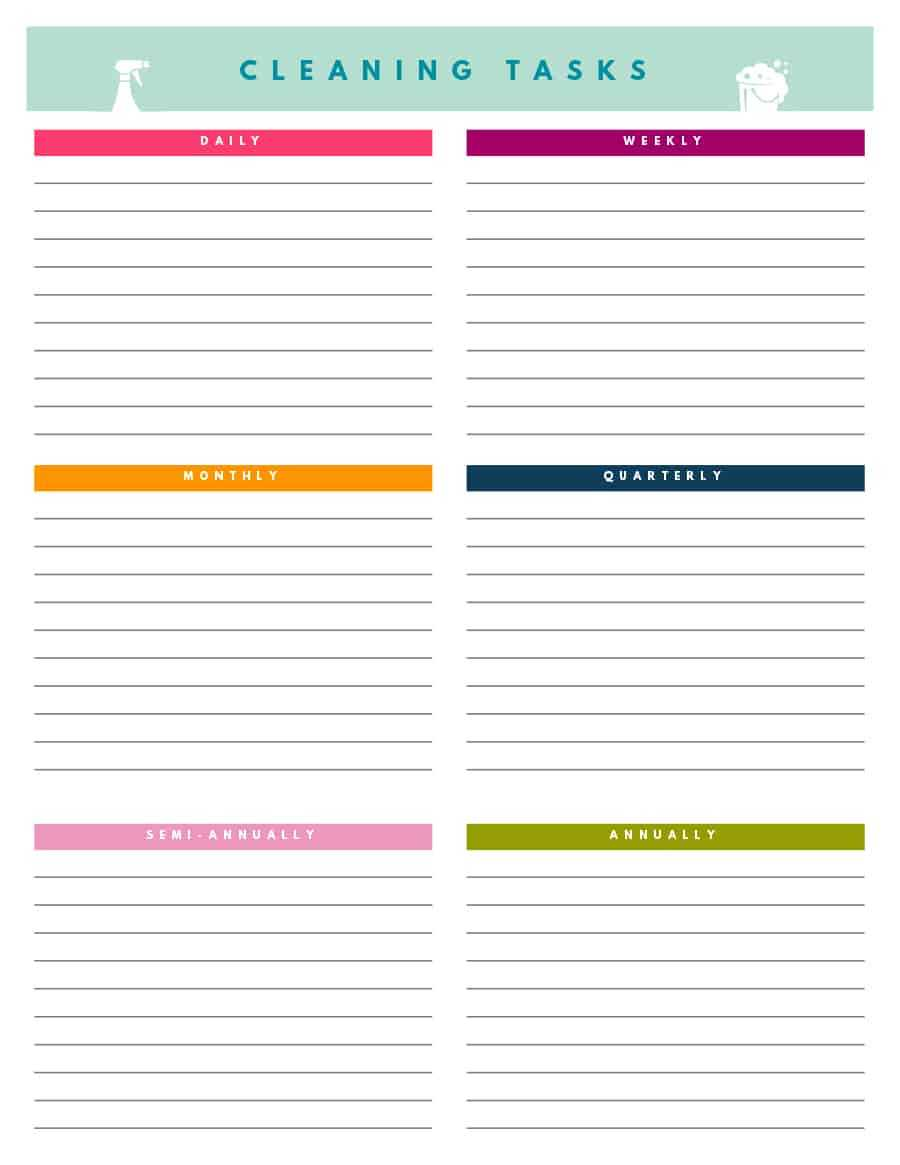 40 Printable House Cleaning Checklist Templates ᐅ Template Lab In Blank Cleaning Schedule Template