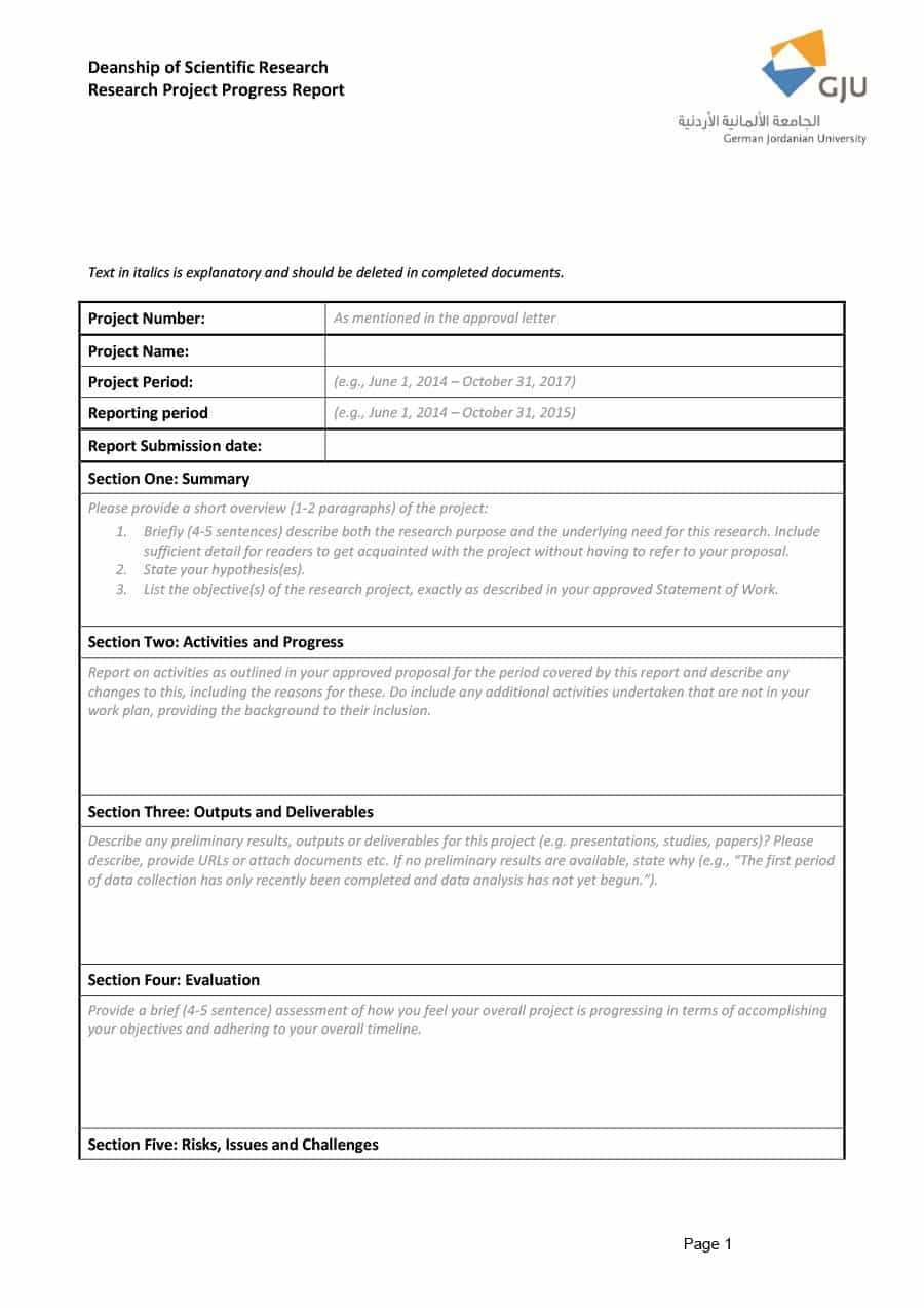 40+ Project Status Report Templates [Word, Excel, Ppt] ᐅ Throughout Research Project Report Template