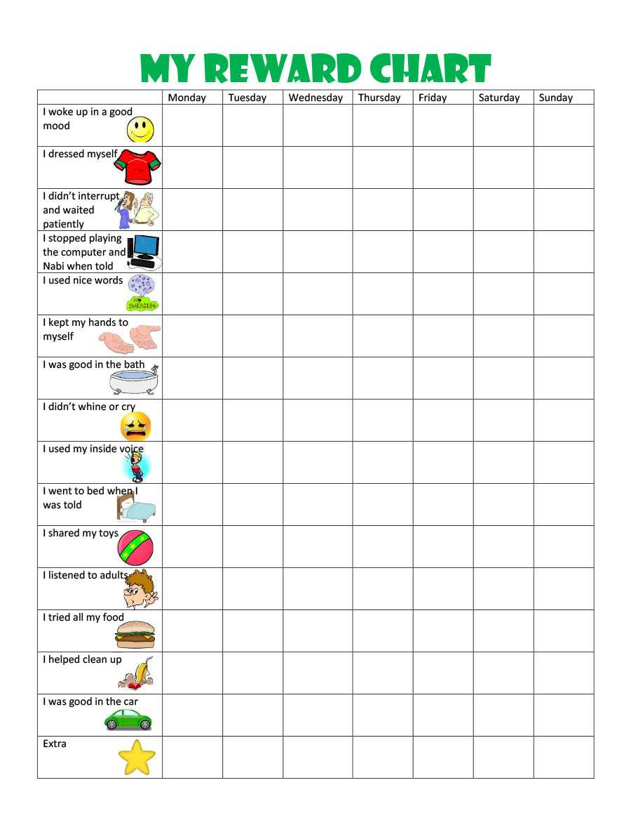 44 Printable Reward Charts For Kids (Pdf, Excel & Word) Pertaining To Blank Reward Chart Template