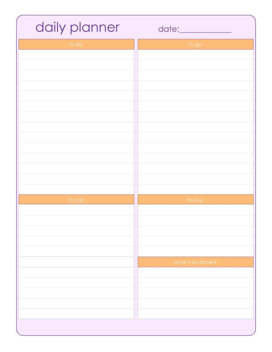 47 Printable Daily Planner Templates (Free In Word/excel/pdf) Regarding Printable Blank Daily Schedule Template