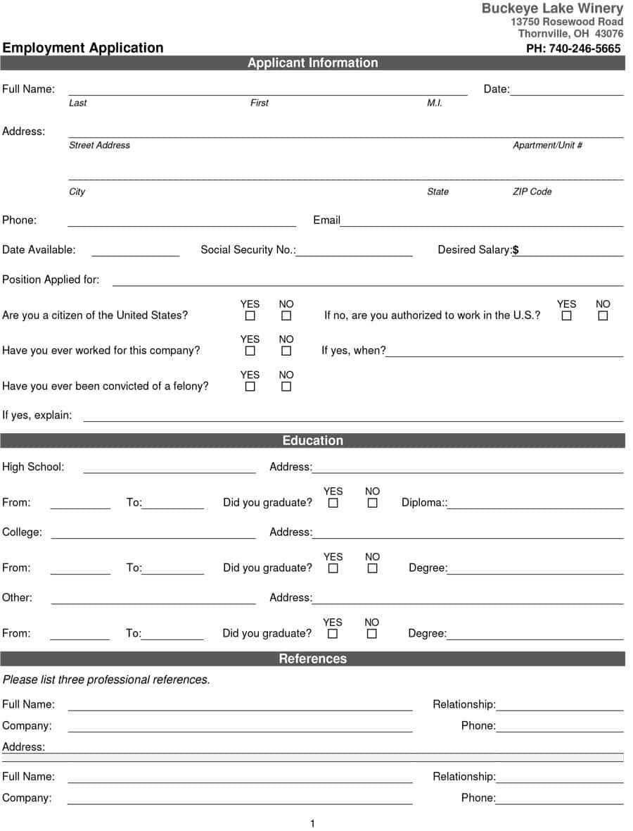 50 Free Employment / Job Application Form Templates Throughout Employment Application Template Microsoft Word