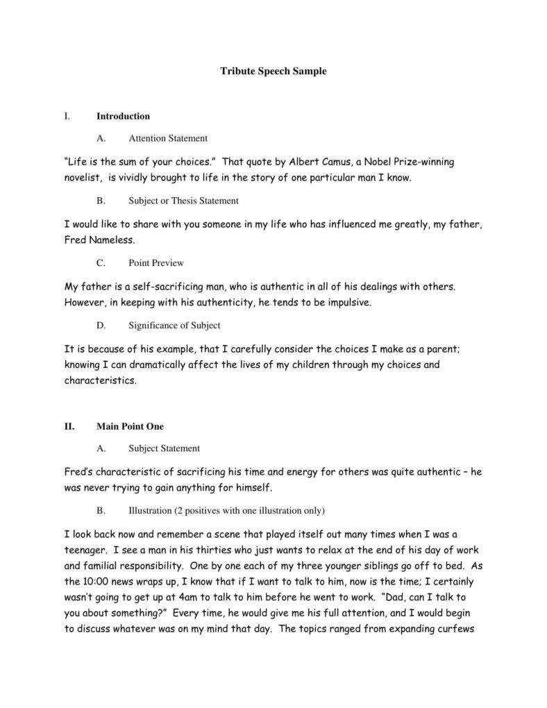 8+ Commemorative Speech Outline Templates – Pdf | Free With Speech Outline Template Word