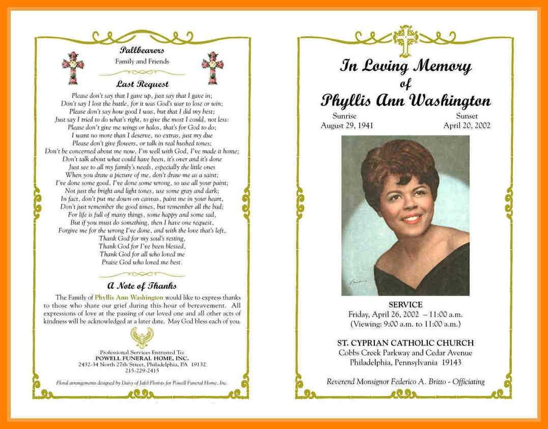 9+ Free Obituary Program Templates   St Columbaretreat House In Free Obituary Template For Microsoft Word