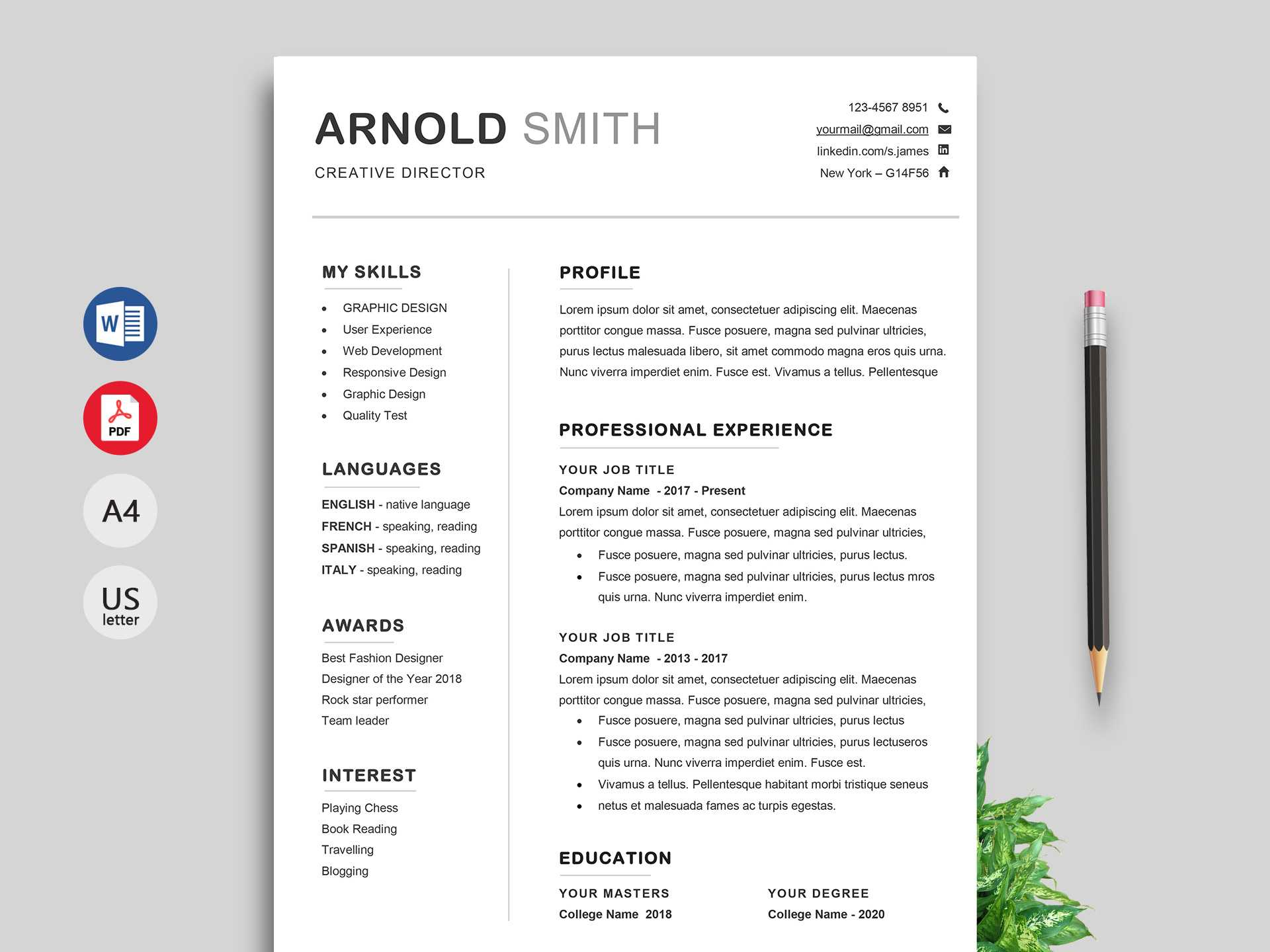 Ace Classic Cv Template Word - Resumekraft Intended For Free Resume Template Microsoft Word