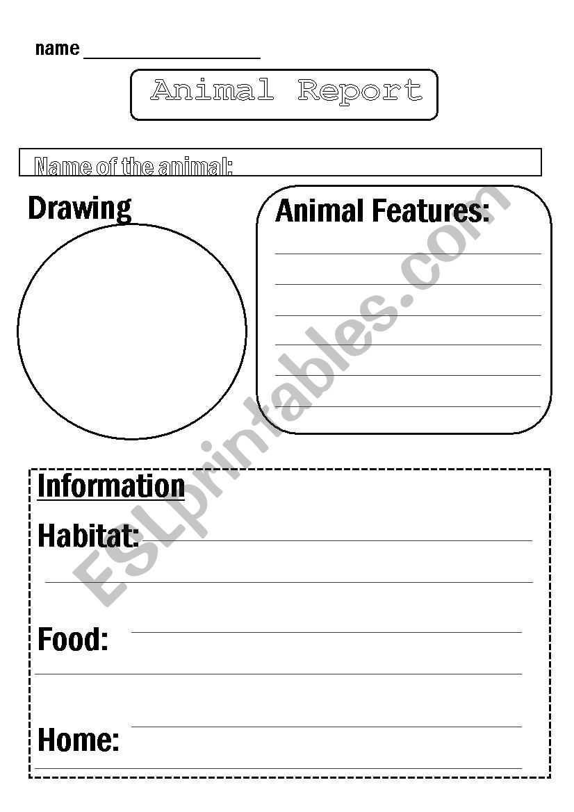 Animal Report Template - Esl Worksheetflora.m123 Intended For Animal Report Template