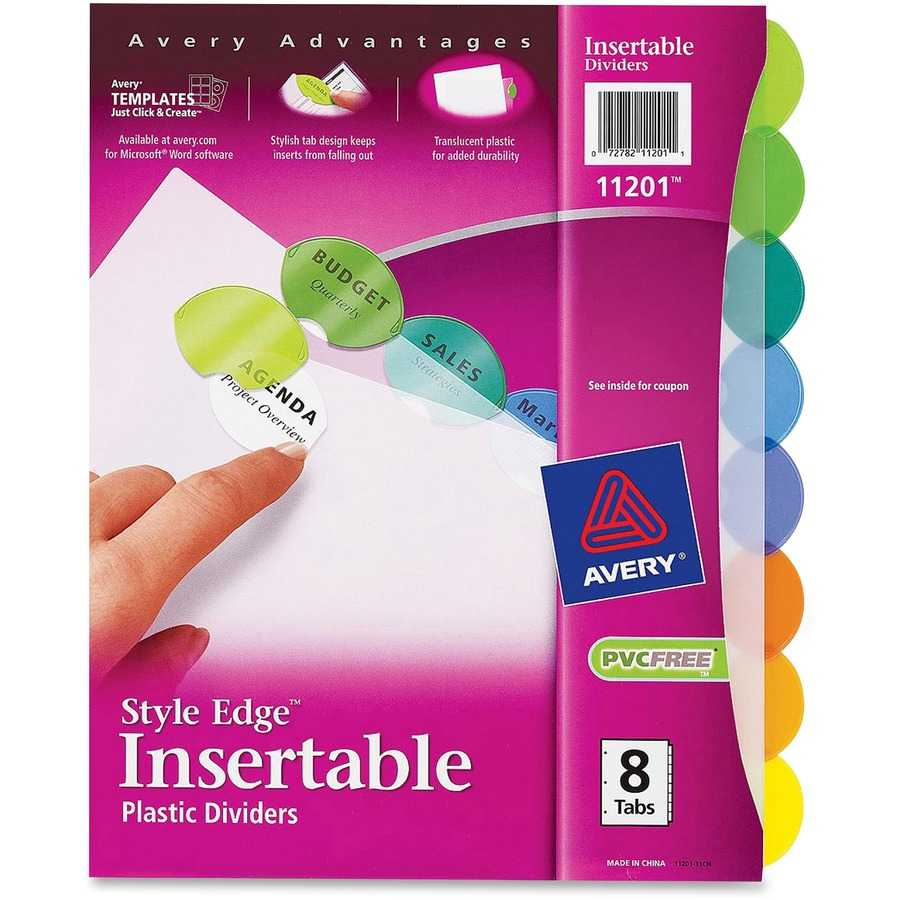 Avery® Insertable Style Edge(Tm) Plastic Dividers, 8 For 8 Tab Divider Template Word