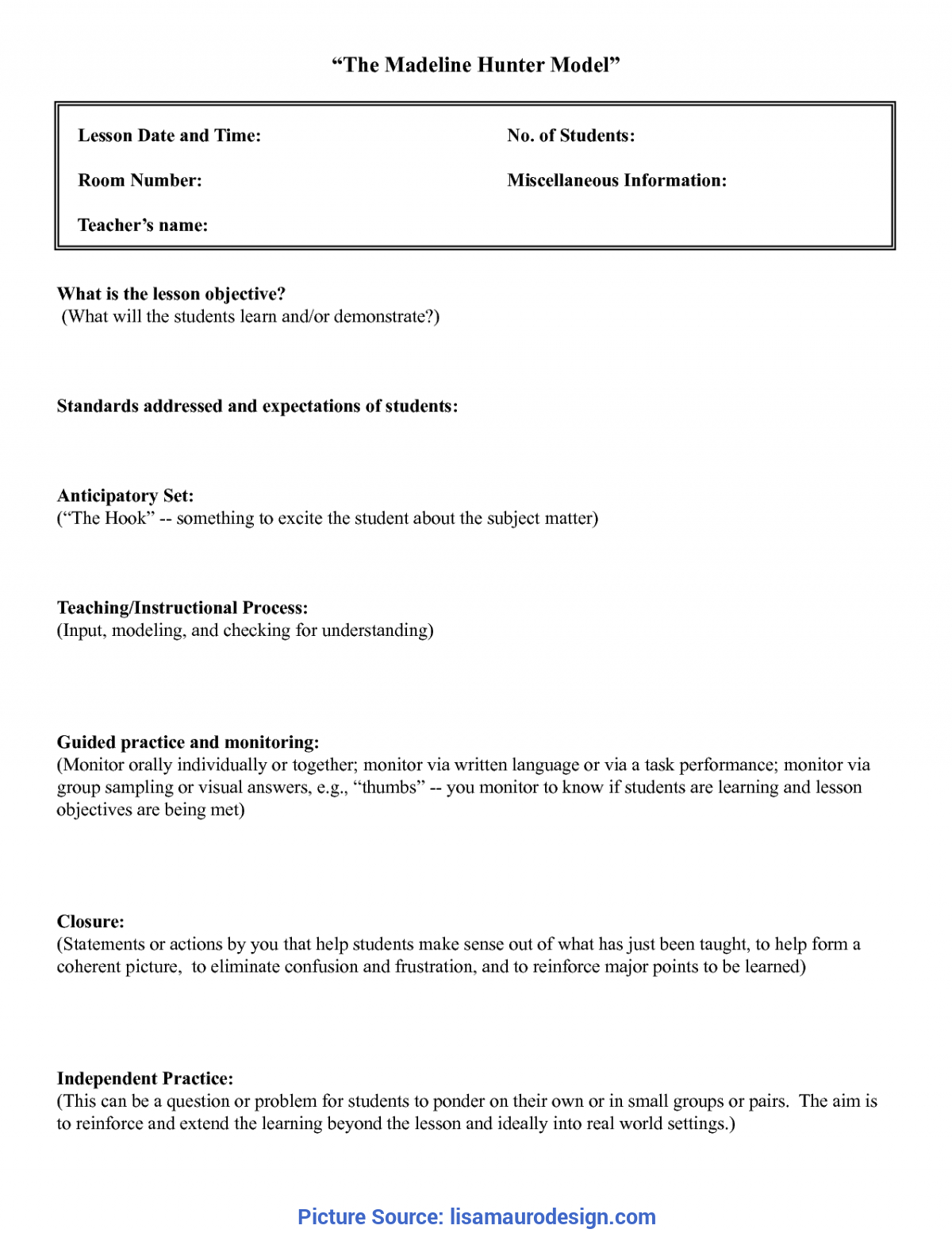 Best Lesson Plan Template Anticipatory Set Madeline Hunter Intended For Madeline Hunter Lesson Plan Blank Template