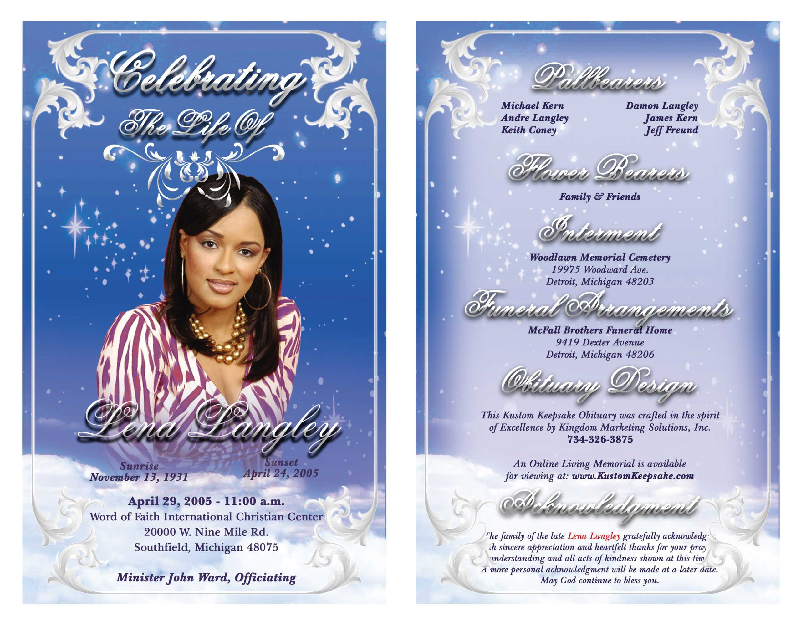 Best Photos Of Sample Obituary Funeral Program Templates In Free Obituary Template For Microsoft Word