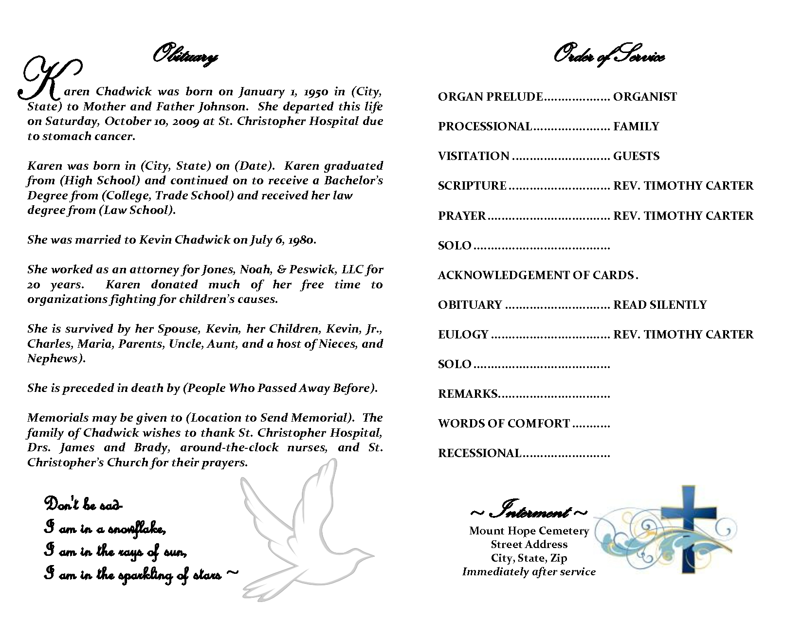 Best Photos Of Sample Obituary Funeral Program Templates Intended For Free Obituary Template For Microsoft Word