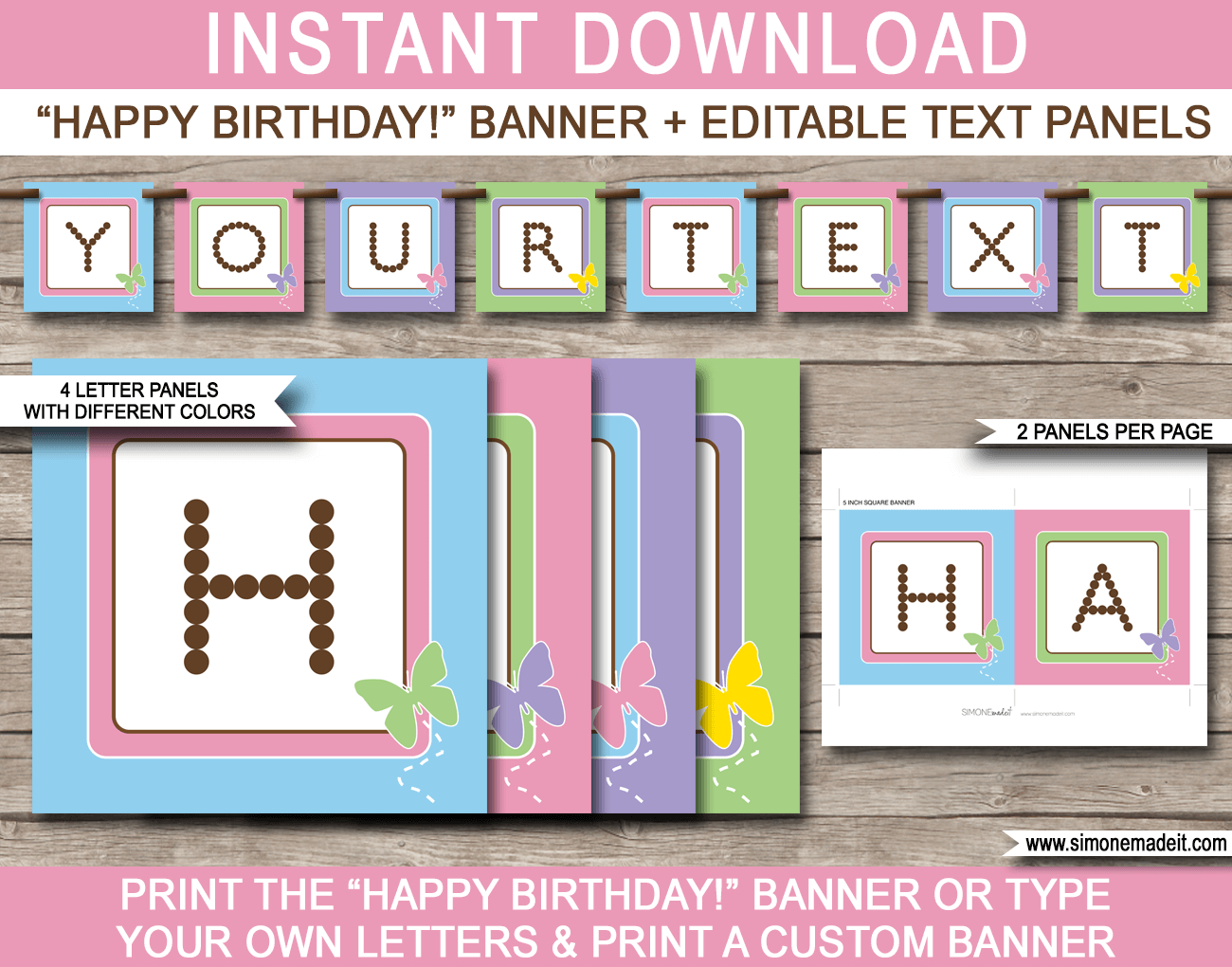 Birthday Banner Template Butterfly Party Photoshop Free Throughout Free Printable Happy Birthday Banner Templates