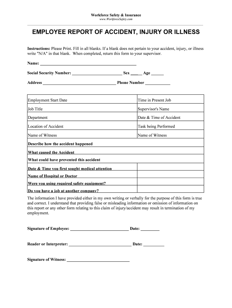 Blank Incident And Injury Report Pdf – Fill Online Within Office Incident Report Template