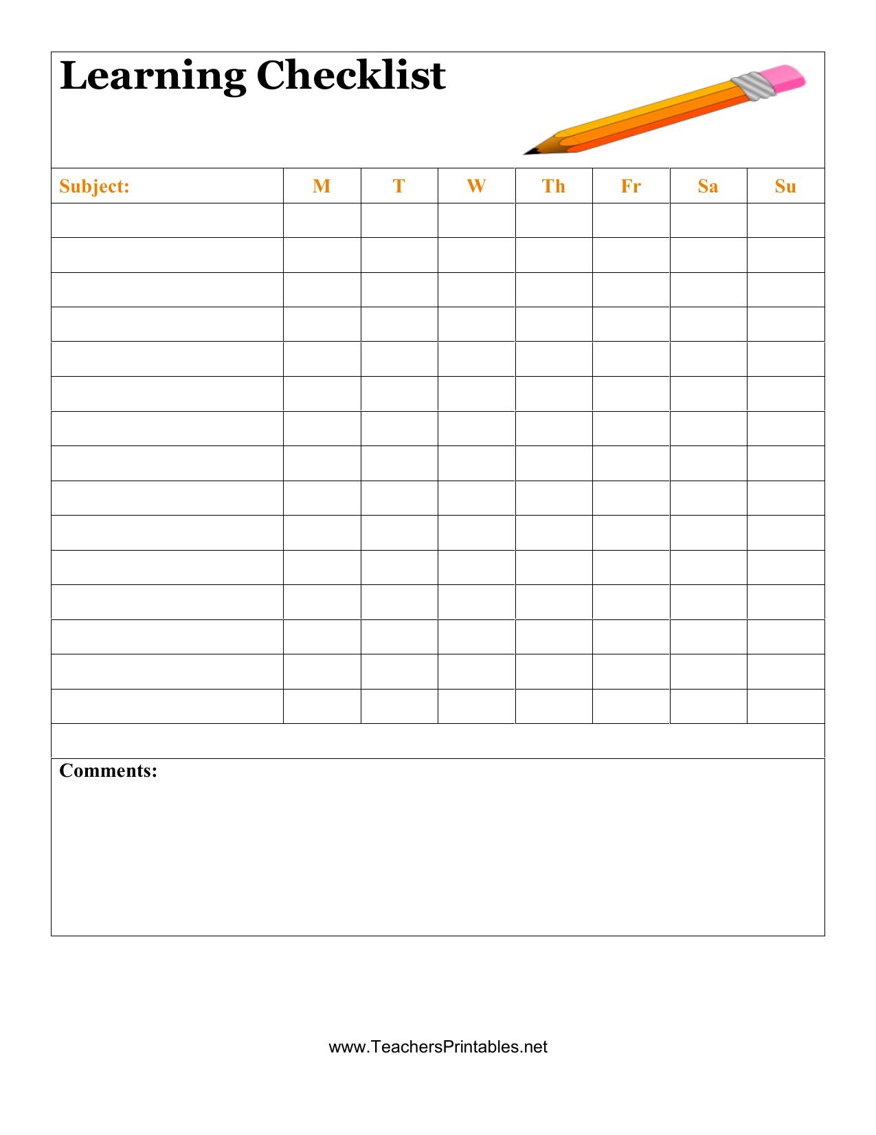 Blank Student Checklist Template - Raptor.redmini.co Pertaining To Blank Checklist Template Pdf