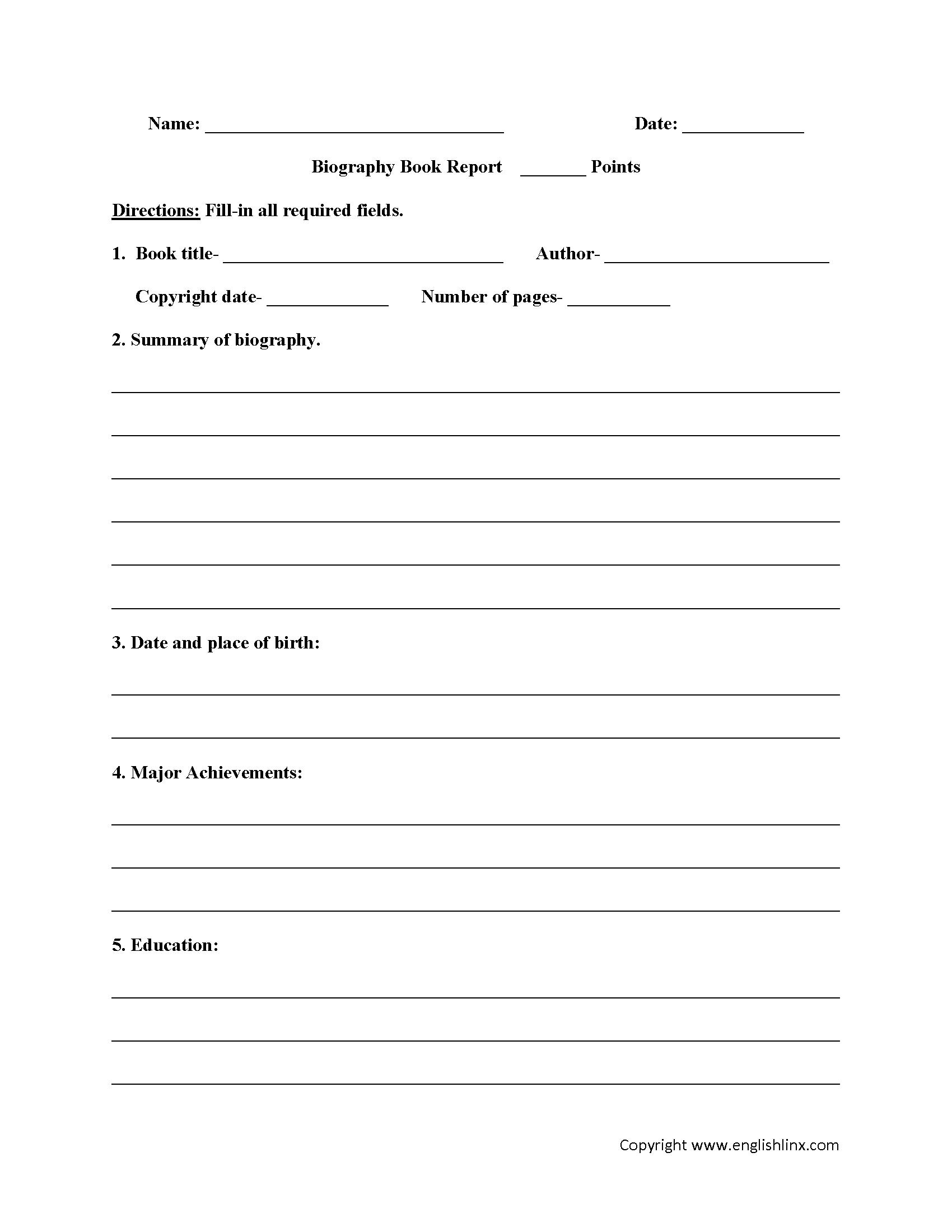 Book Report Worksheets   Biography Book Report Worksheets For Biography Book Report Template