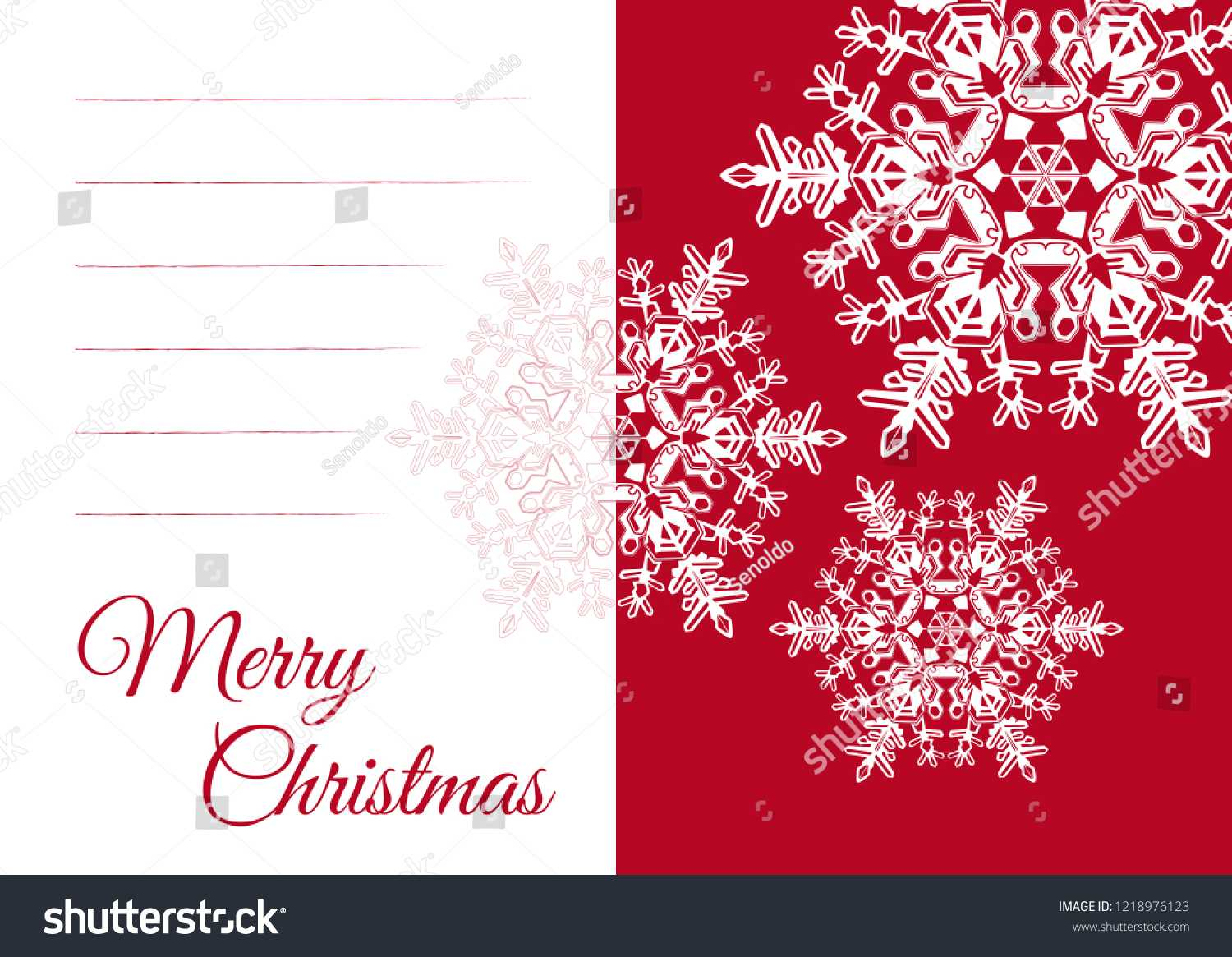 Christmas Vector Greeting Card Template Blank Stock Vector For Blank Snowflake Template