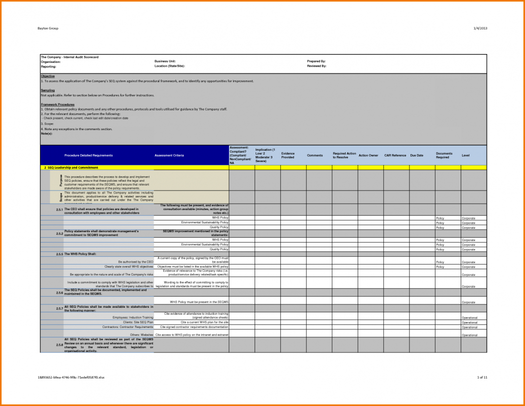 Company Internal Auditing Activity Checklist Professional Intended For Internal Audit Report Template Iso 9001