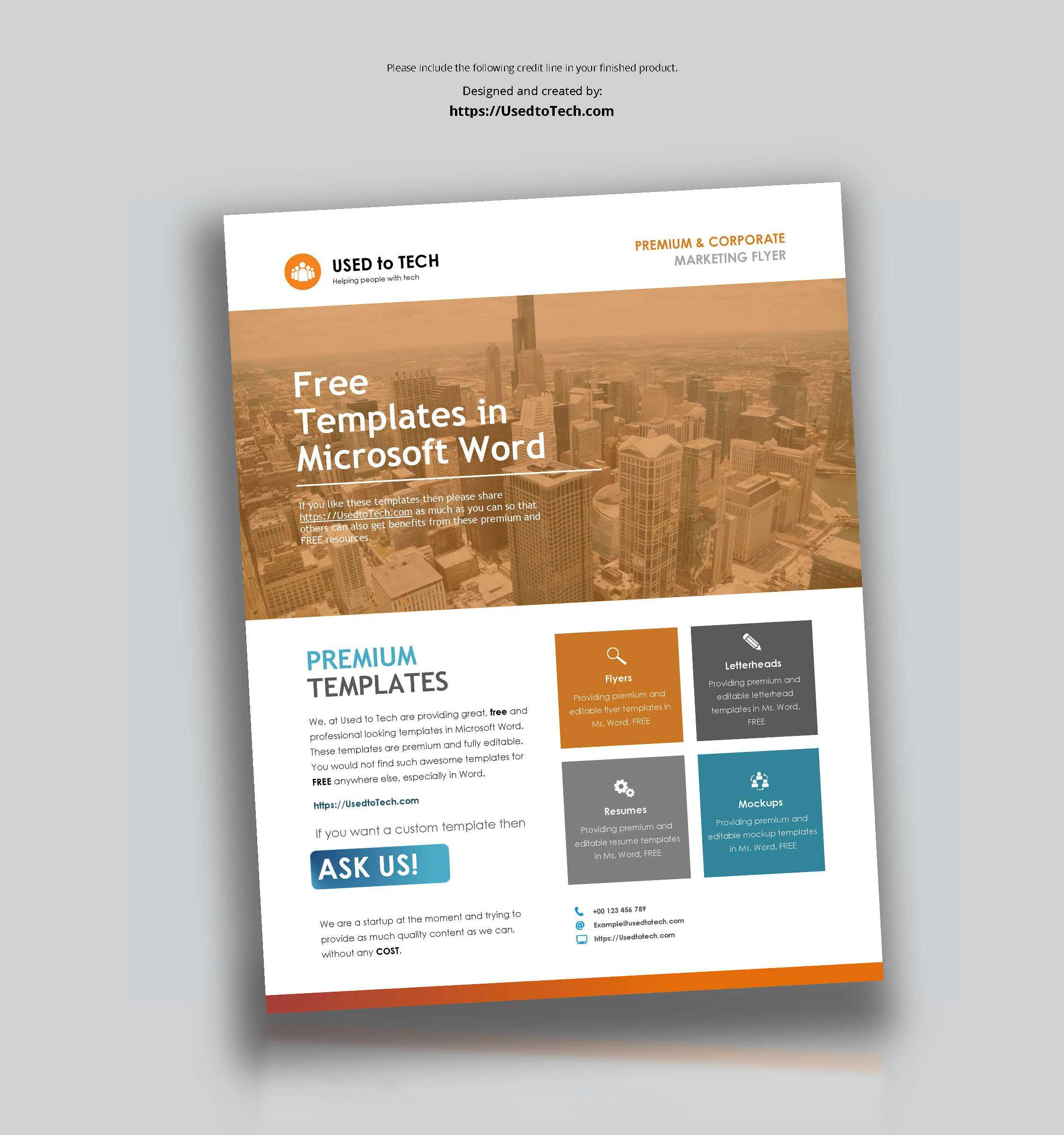 Corporate Flyer Design In Microsoft Word Free - Used To Tech Within Templates For Flyers In Word