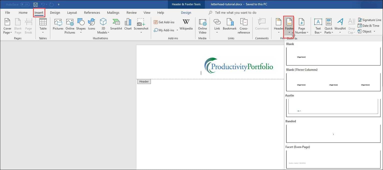 Create A Word Letterhead Template   Productivity Portfolio Regarding How To Create A Letterhead Template In Word