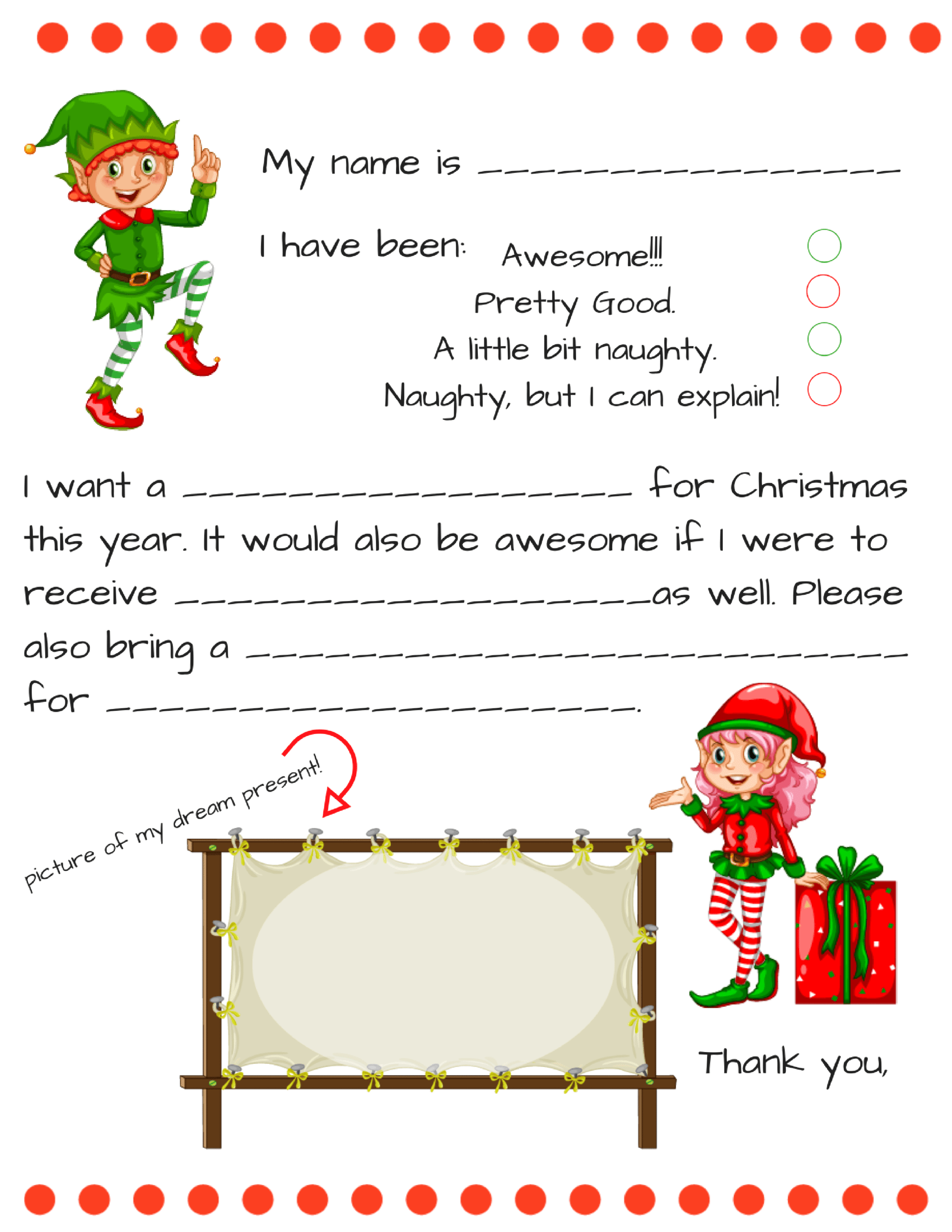 Dear Santa Fill In Letter Template – Inside Blank Letter From Santa Template