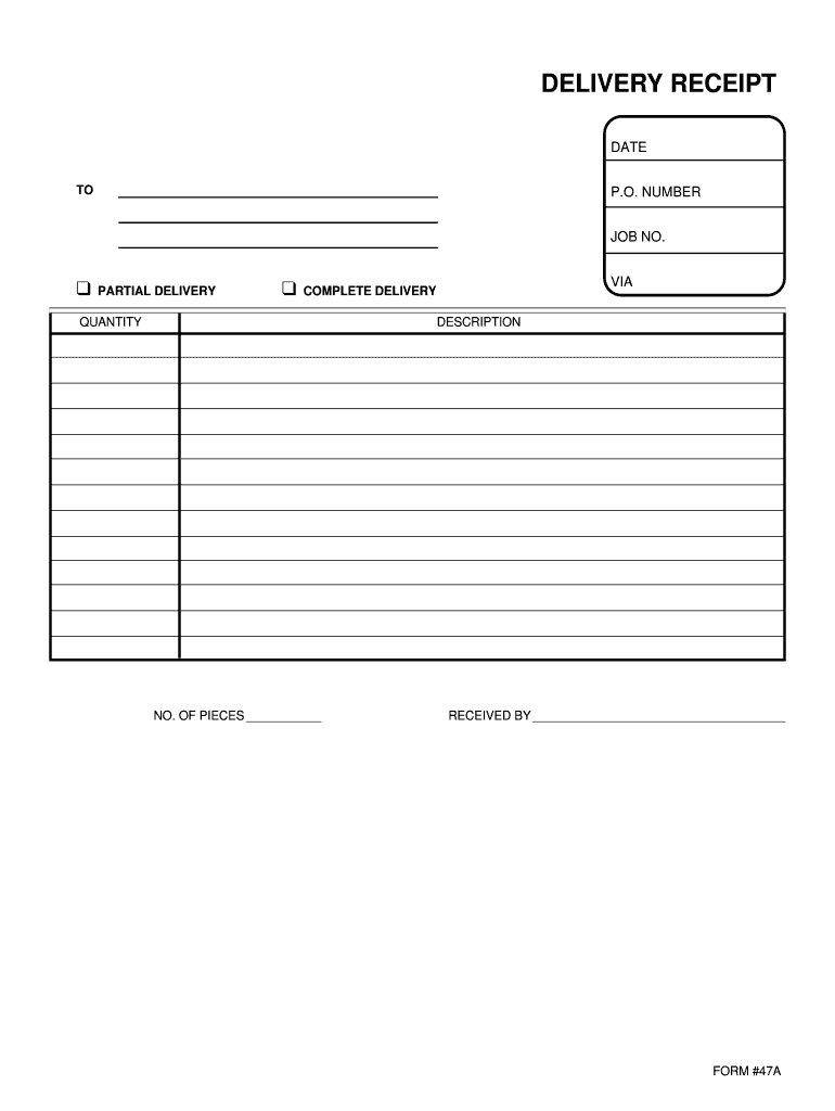 Delivery Receipt Template – Fill Online, Printable, Fillable Inside Proof Of Delivery Template Word