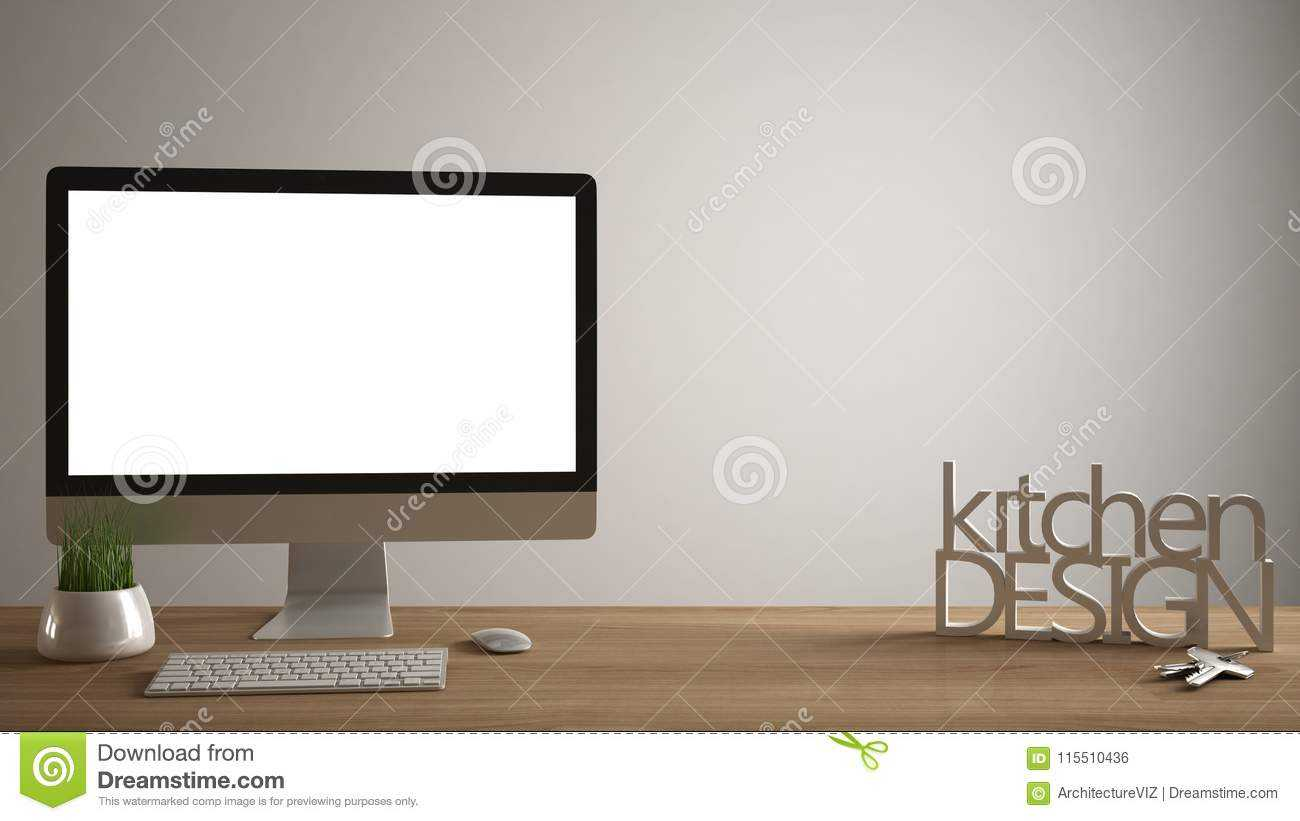 Desktop Mockup, Template, Computer On Wooden Work Desk With In Making Words Template