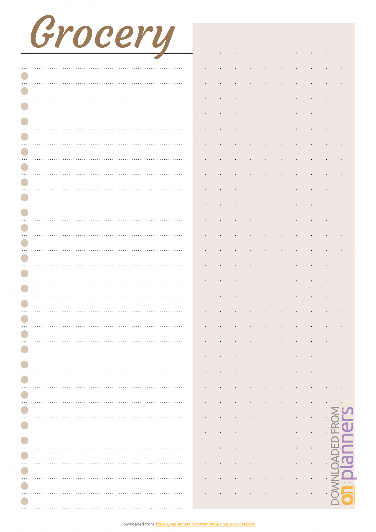 Download Printable Simple Grocery List Template Pdf Within Blank Checklist Template Pdf